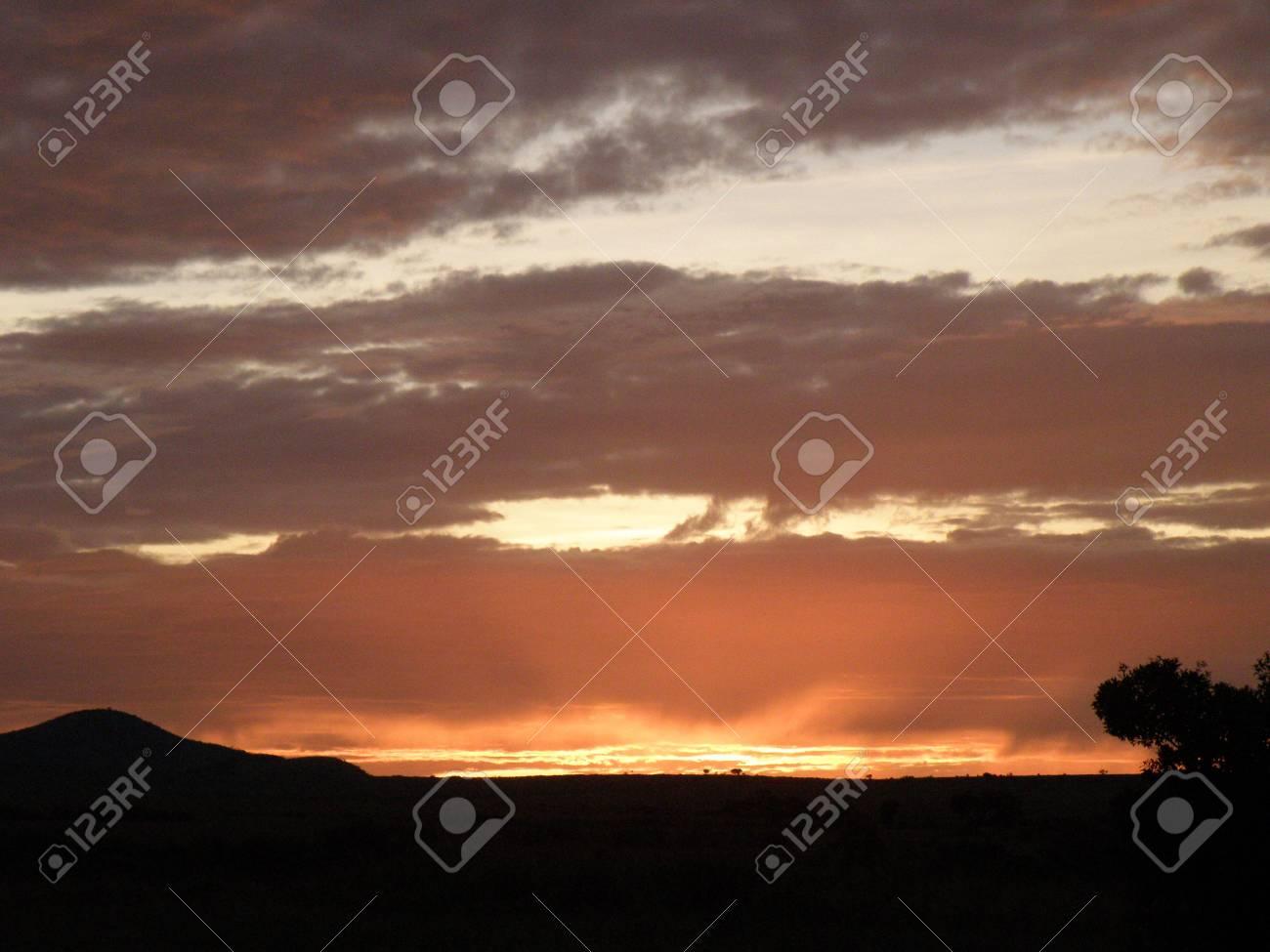 Kenya Safari, Sunrise over Masai Mara Stock Photo - 3813676