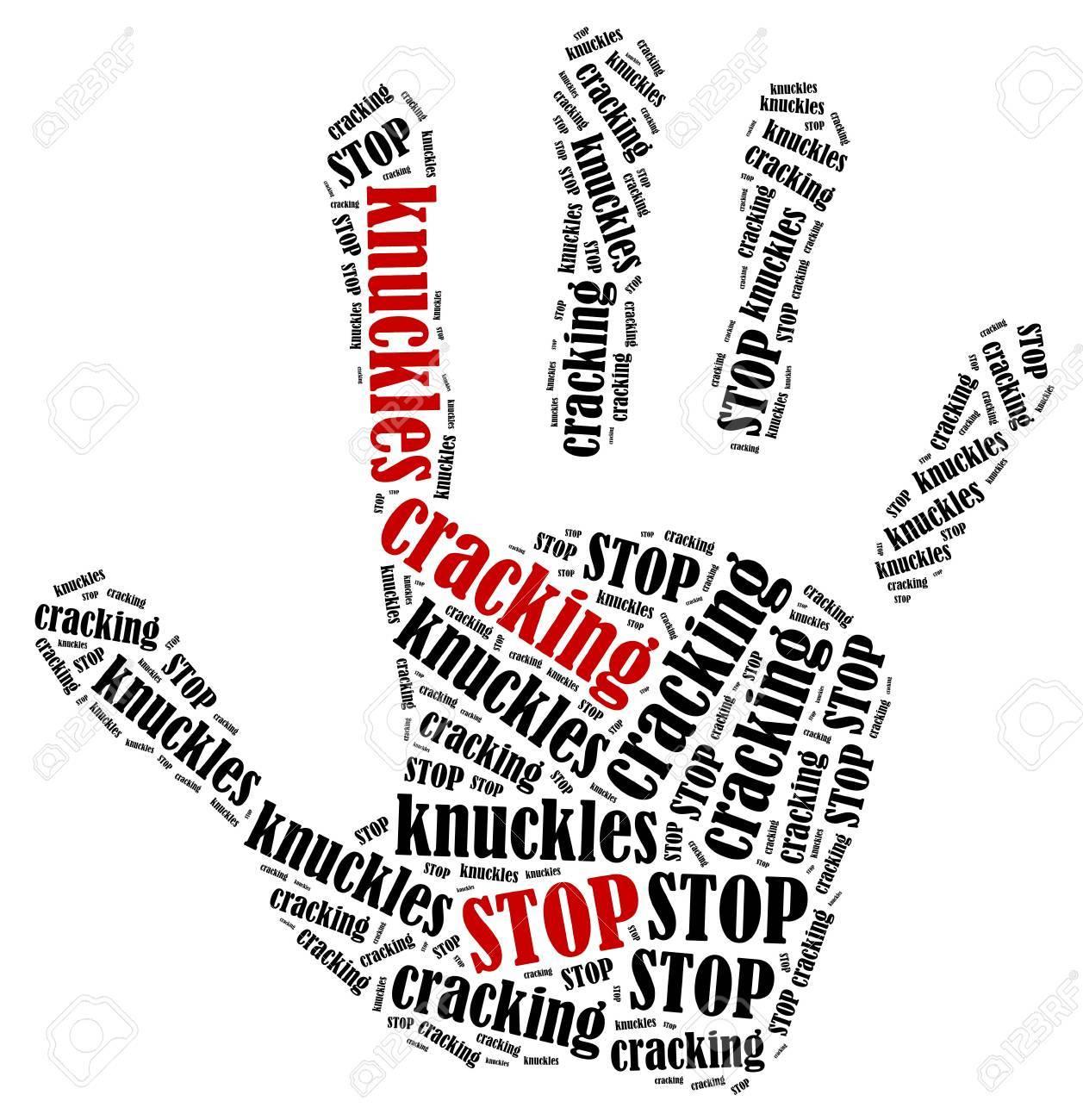 指の関節を停止します印刷抗議を示す手の形で単語雲のイラスト の