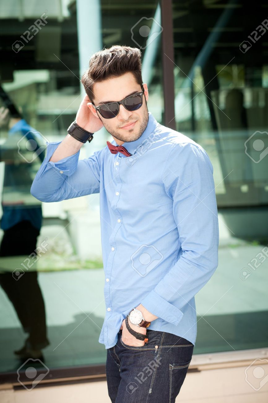 Attractive Young Male Model Posing Outdoors In Blue Shirt And Stock Photo Picture And Royalty Free Image Image 16866122