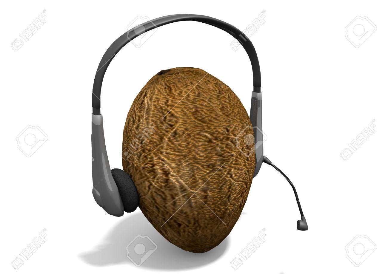 Rendering of a headphones on a coconut. The coconut mimics the human head. The composition is isolated on white background. - 42267917