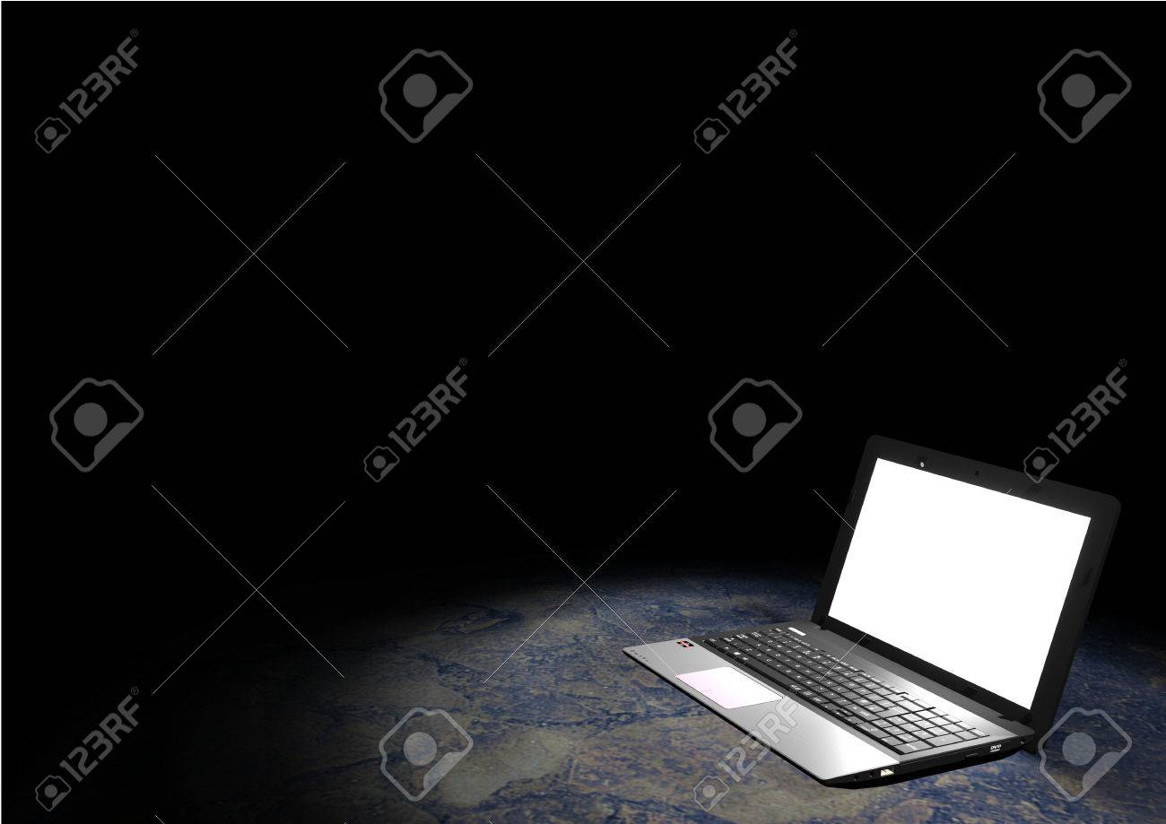 Rendering of a notebook in a dark room. The notebook is illuminated by a spot light. Copyspace available on the top of the image. - 42267935