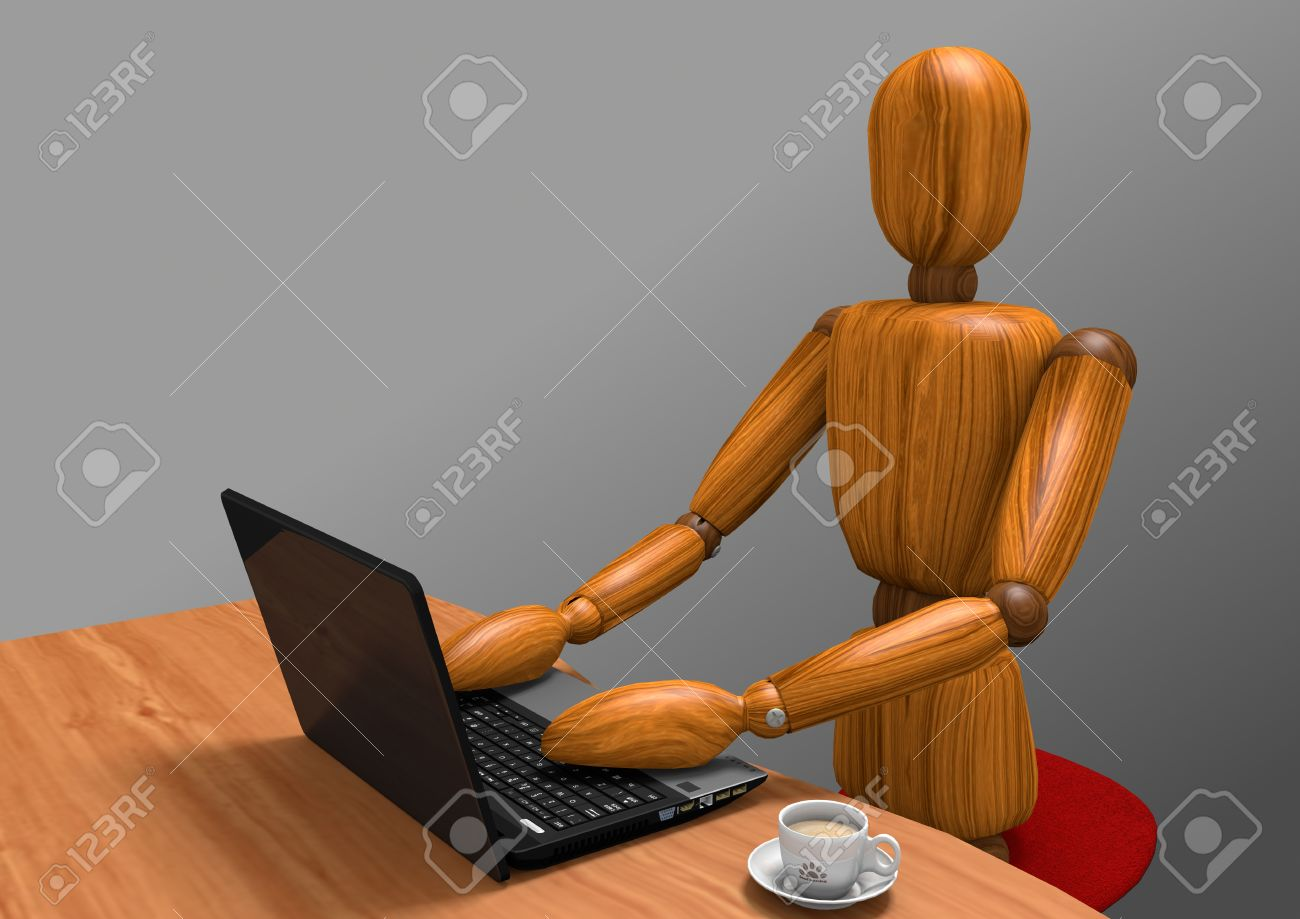 3D rendering of a wooden dummy working at a laptop. On the desk there is anche a cup of coffee. The background is a gray gradient. - 42267937