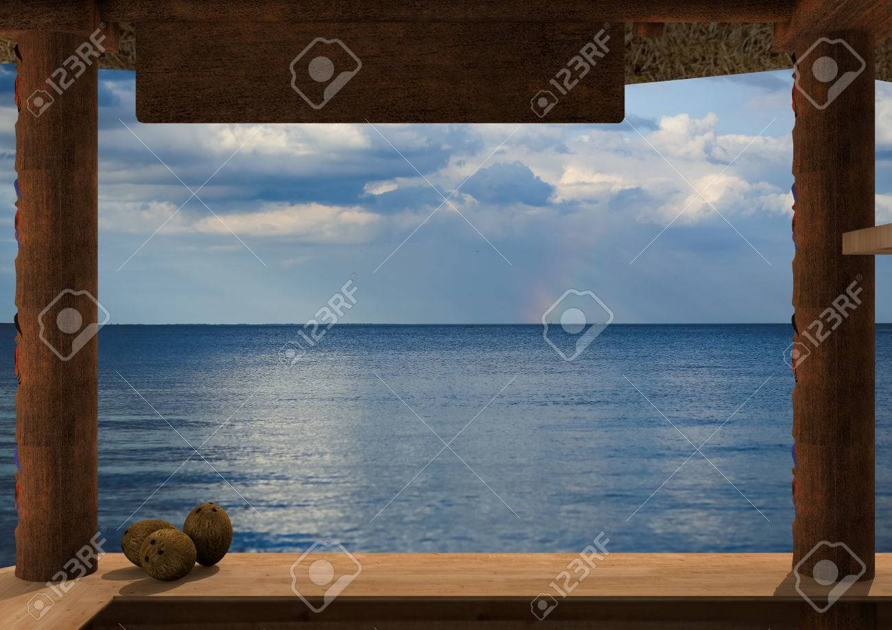 Rendering of the view from a kiosk on the beach. From the kiosk is visible the ocean. On the plane of the kiosk, on the left there are three coconuts. - 42268044