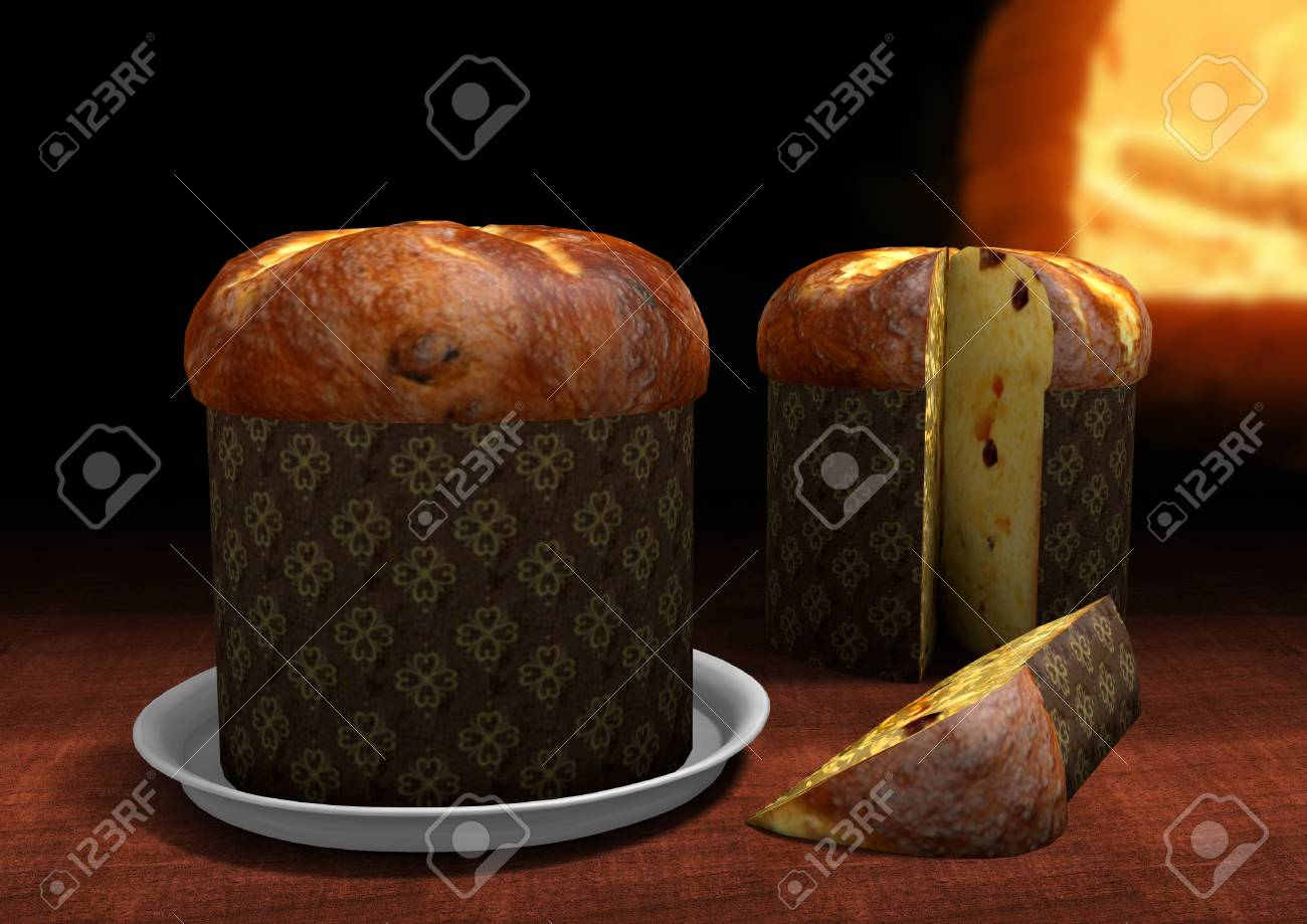 3D Panettone with an oven on the background - 49173425