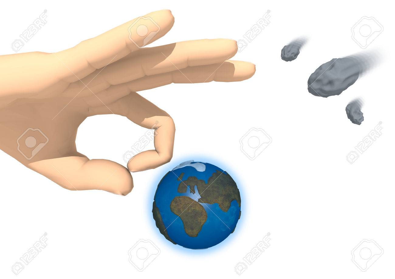 Rendering of a hand is going to strike the Earth on white background. On the right side there are three asteroids in transit. The action is the same used in the game of marbles. Does this hand want to save the Earth from the upcoming impact? - 60892845