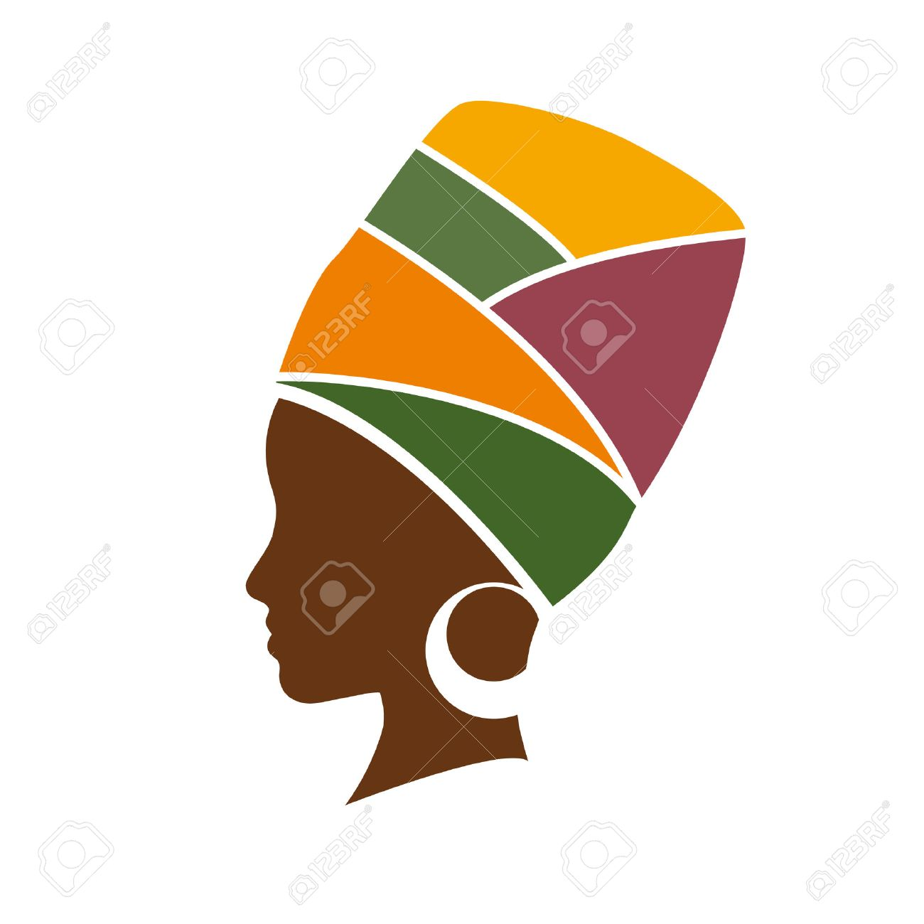 Vector profile of african woman with hat - 53274356