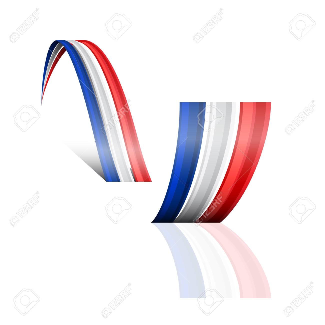Zusammenfassung Vektor Welle Französisch Und Englisch Flagge