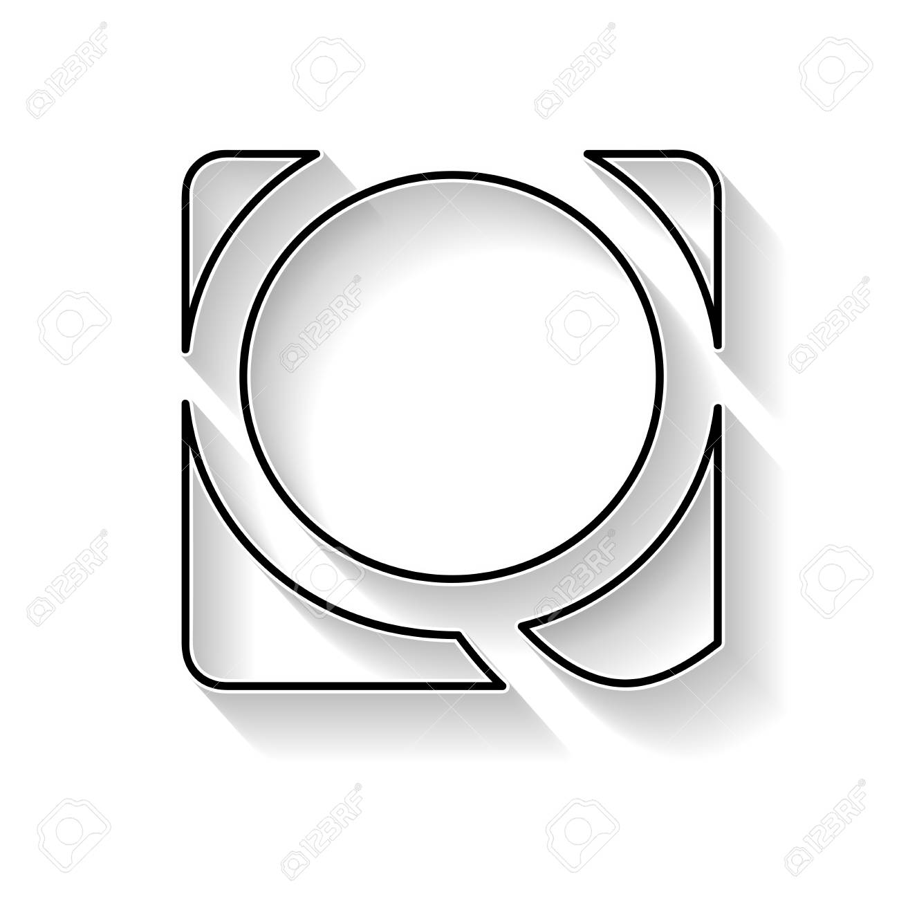 Vector Initial Letter Q Sign Made With Black Line Royalty Free