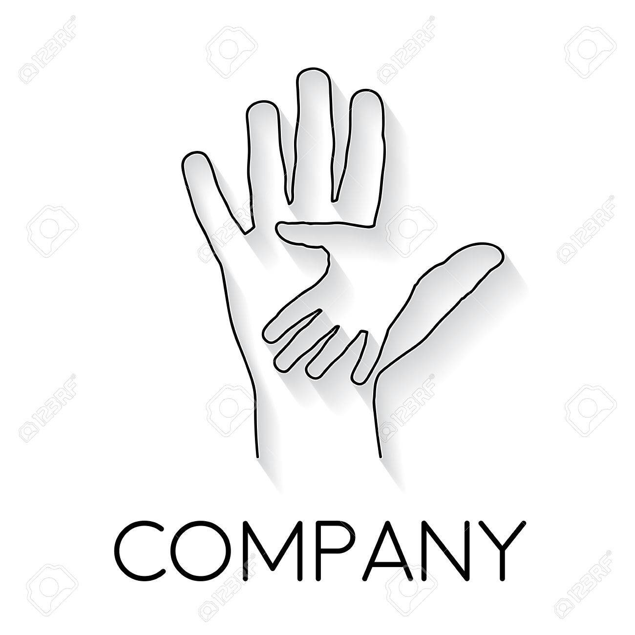 Vector Sign Abstract Two Hands Help And Solidarity In Linear