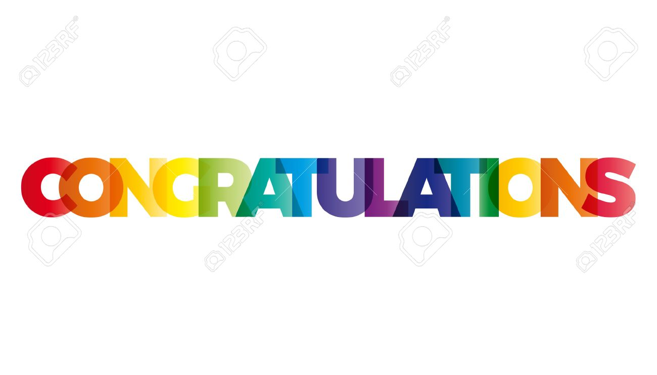 the word congratulations vector banner with the text colored