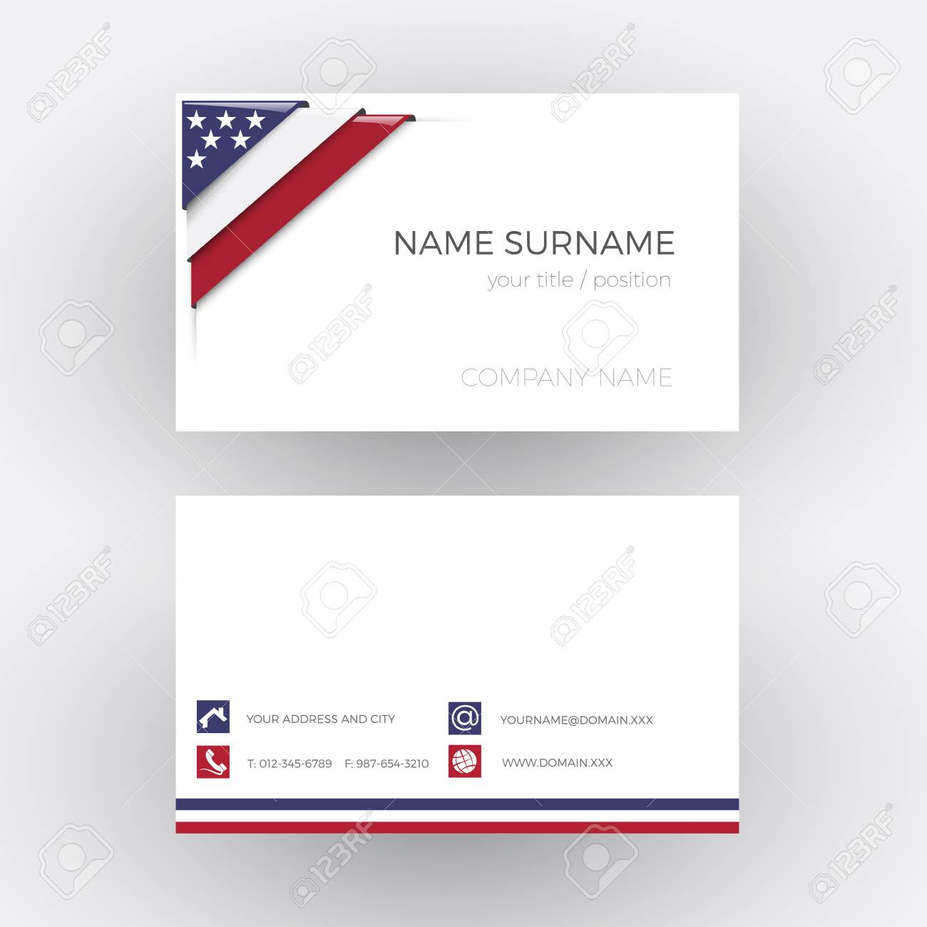 Vector abstract corner with american flag business card royalty vector vector abstract corner with american flag business card colourmoves