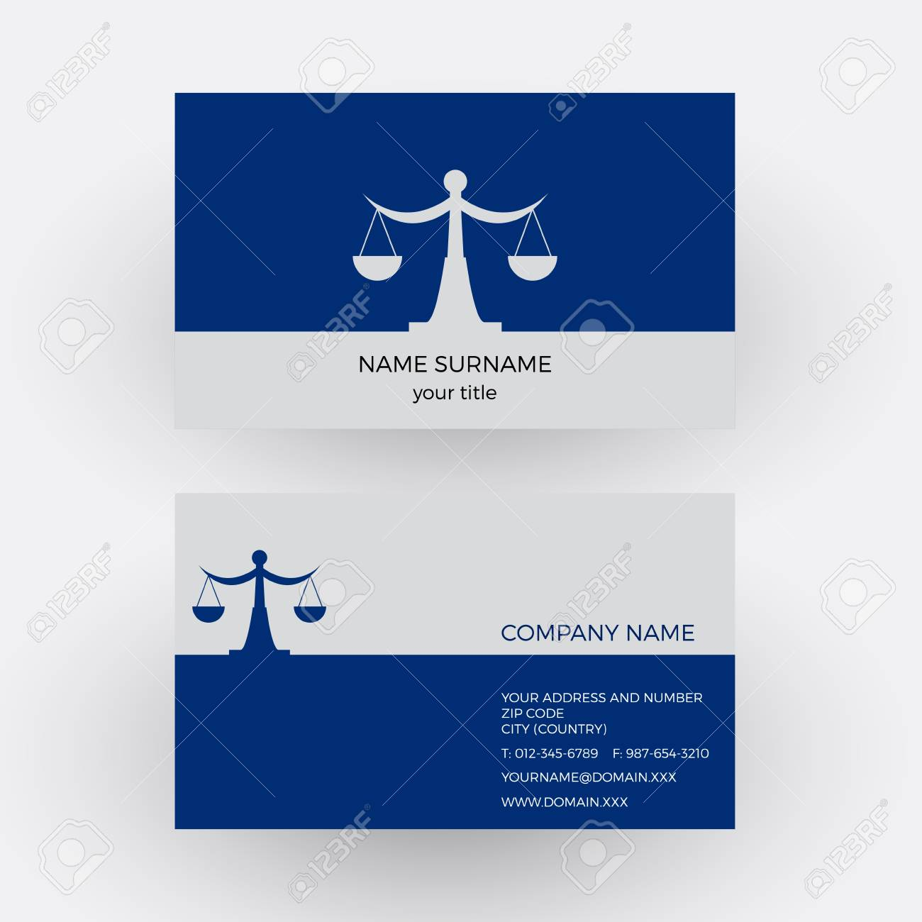 Vector Abstract Balance And Libra. Lawyer Business Card Royalty Free ...