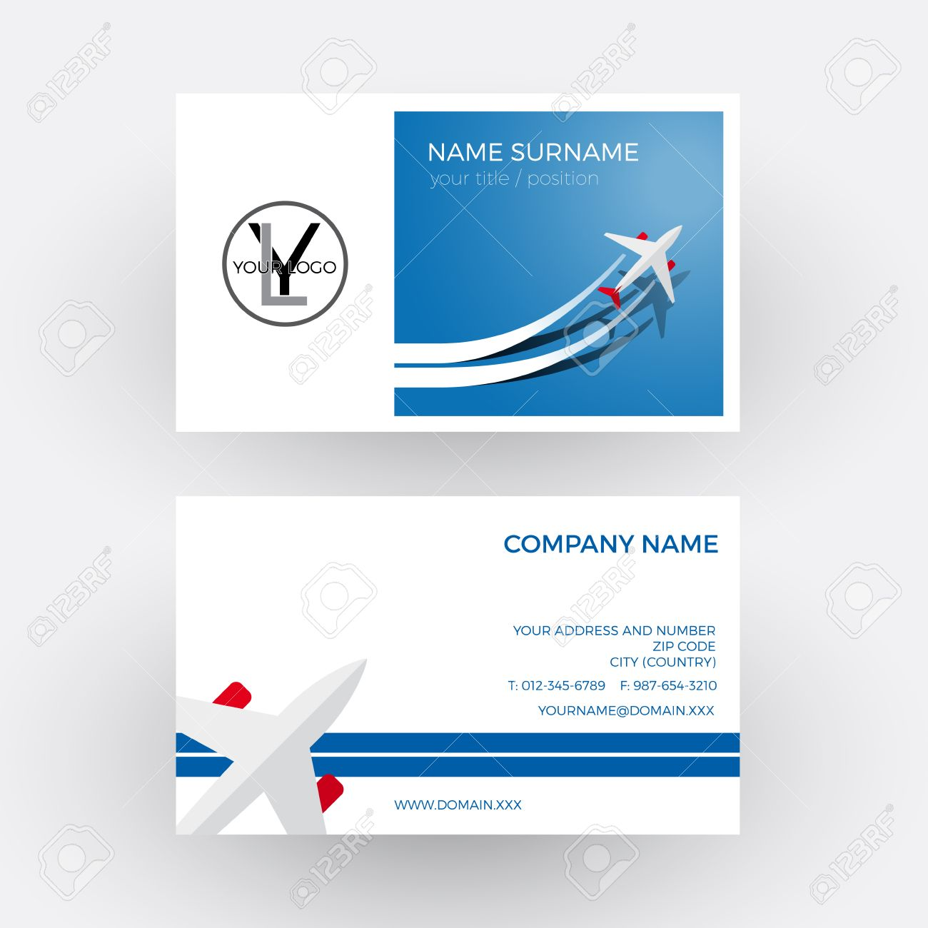 Vector air travel background blue business card royalty free vector vector air travel background blue business card reheart Gallery