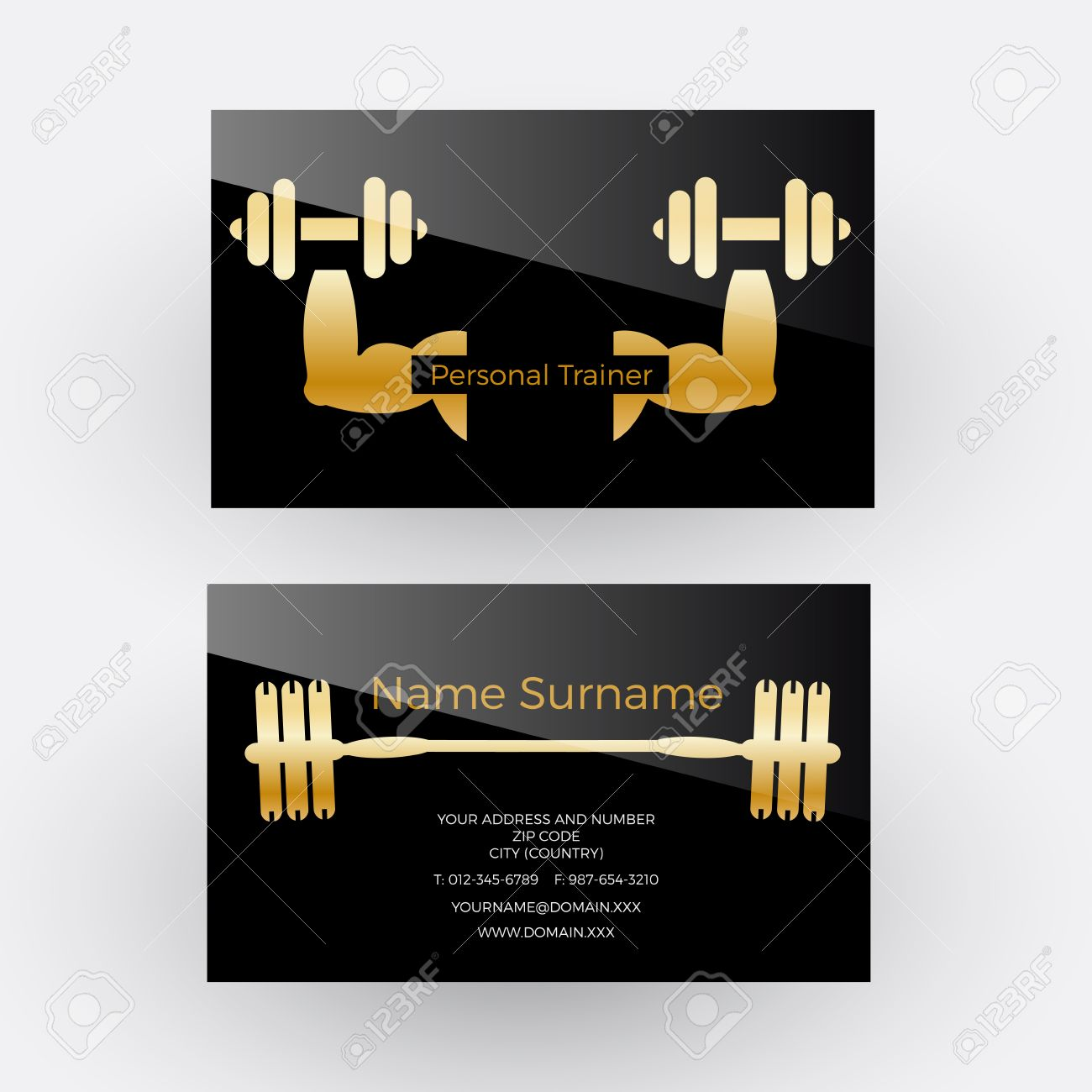 Vector Abstract Sign Personal Trainer. Business Card Royalty Free ...