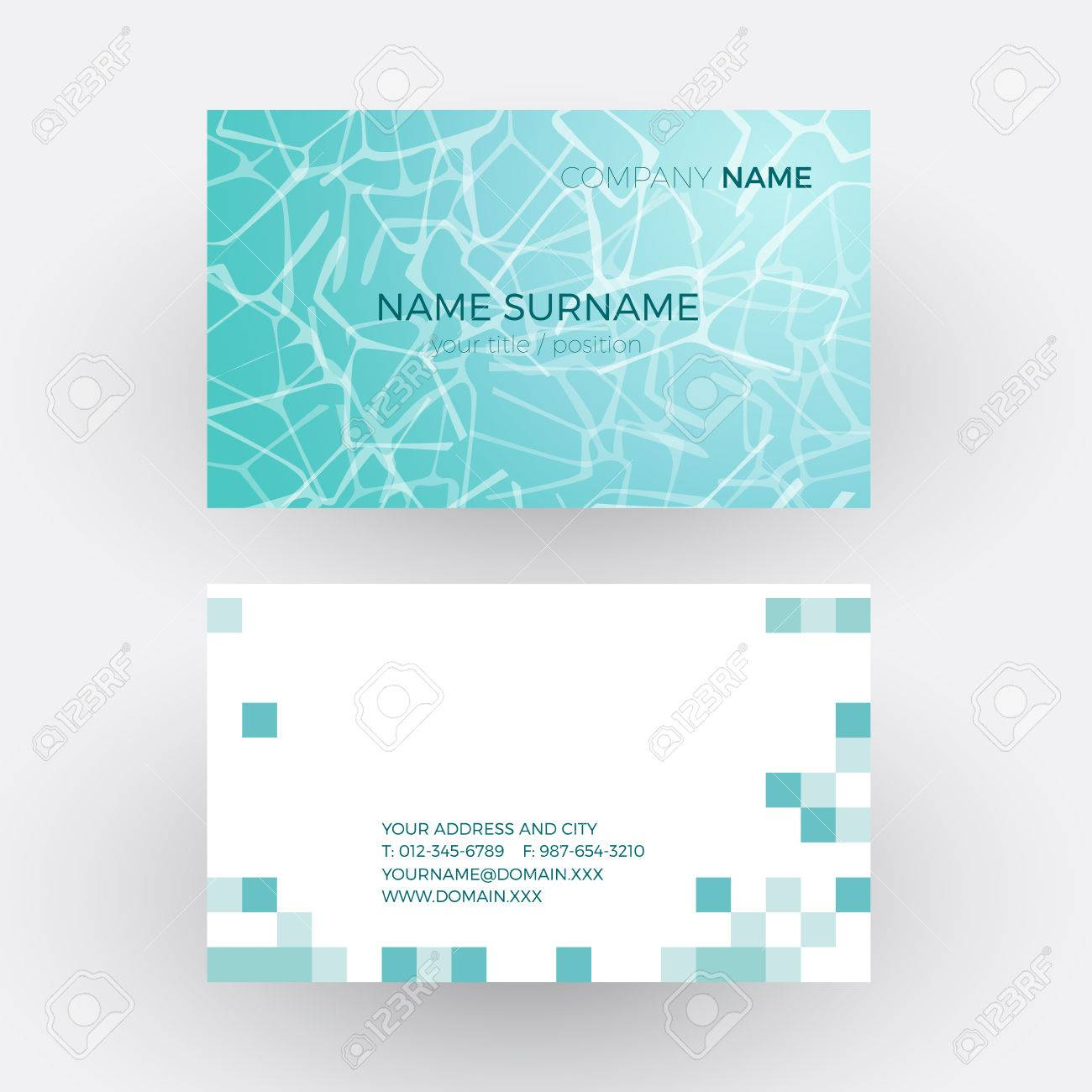 Vector Abstract Waves In The Pool Of A Spa. Business Card Royalty ...