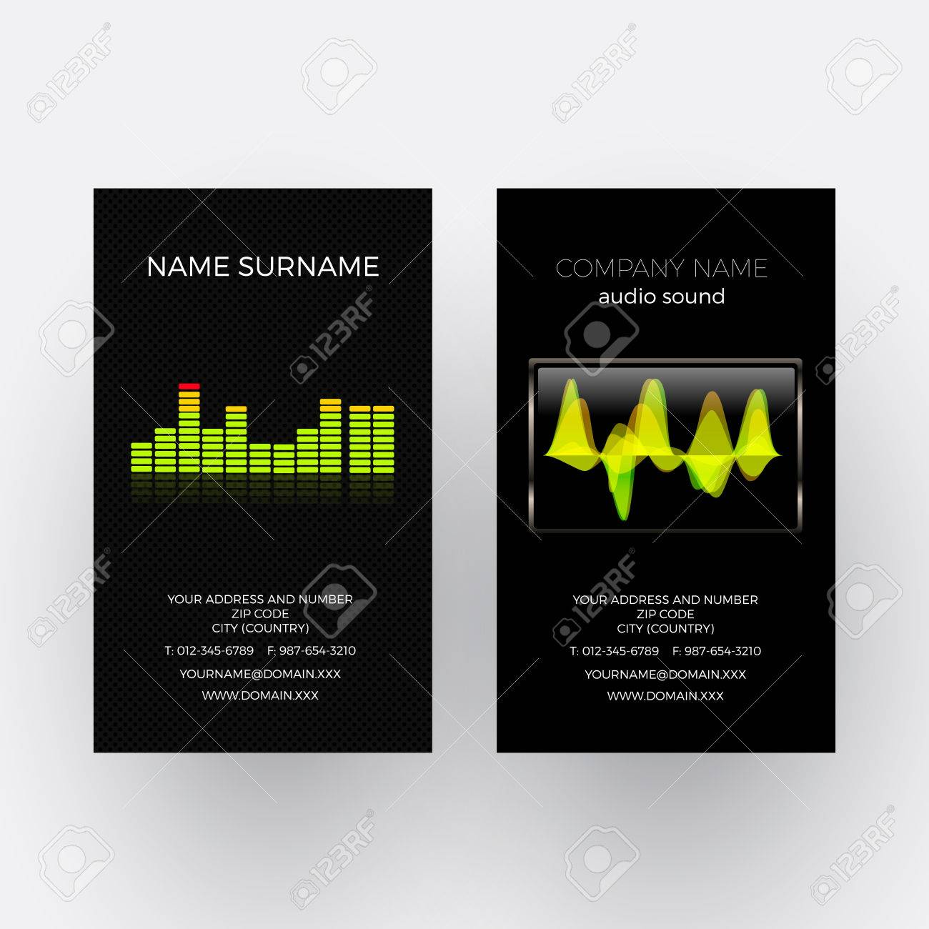 vector abstract equalizer and oscilloscope music business card