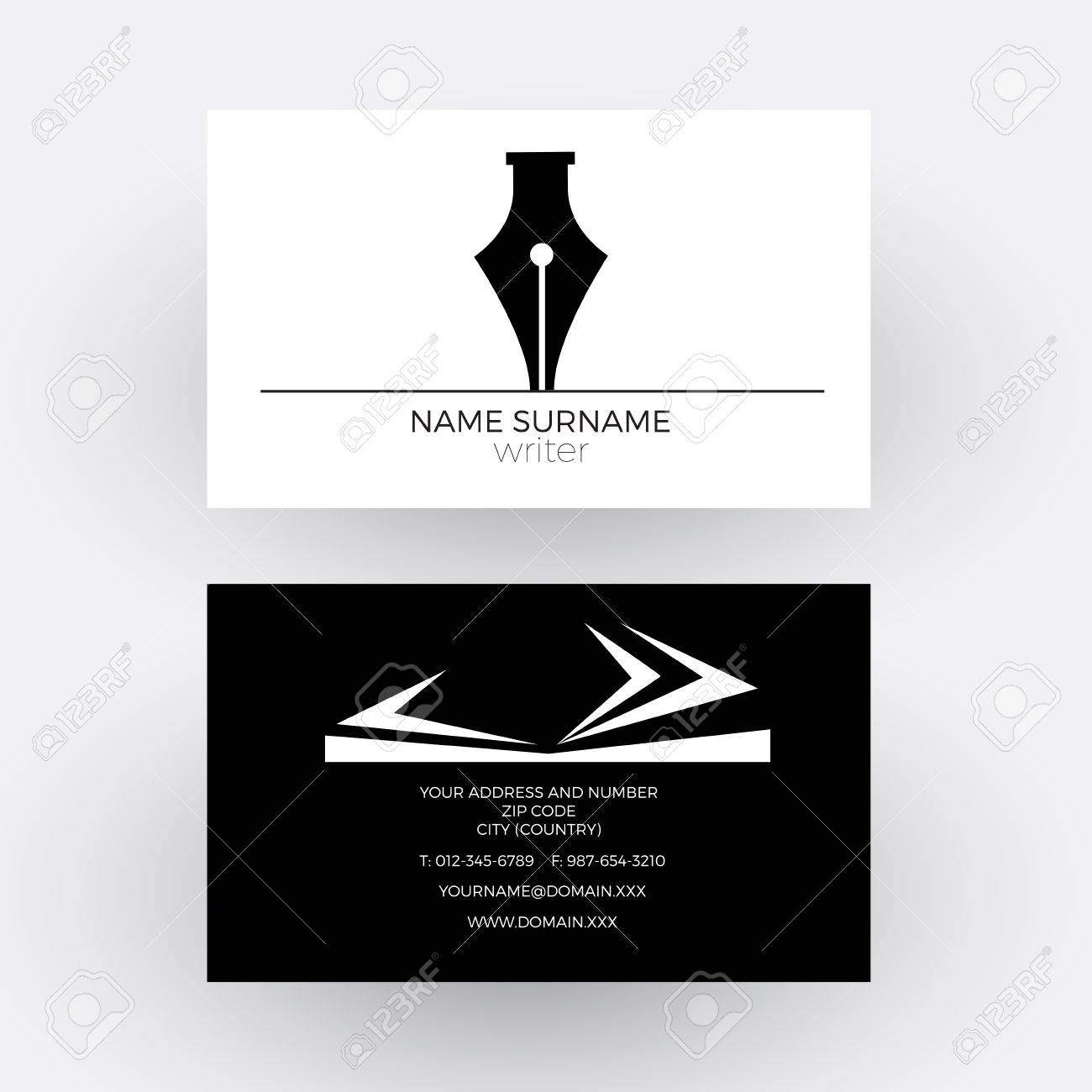 abstract fountain pen concept of writer business card royalty