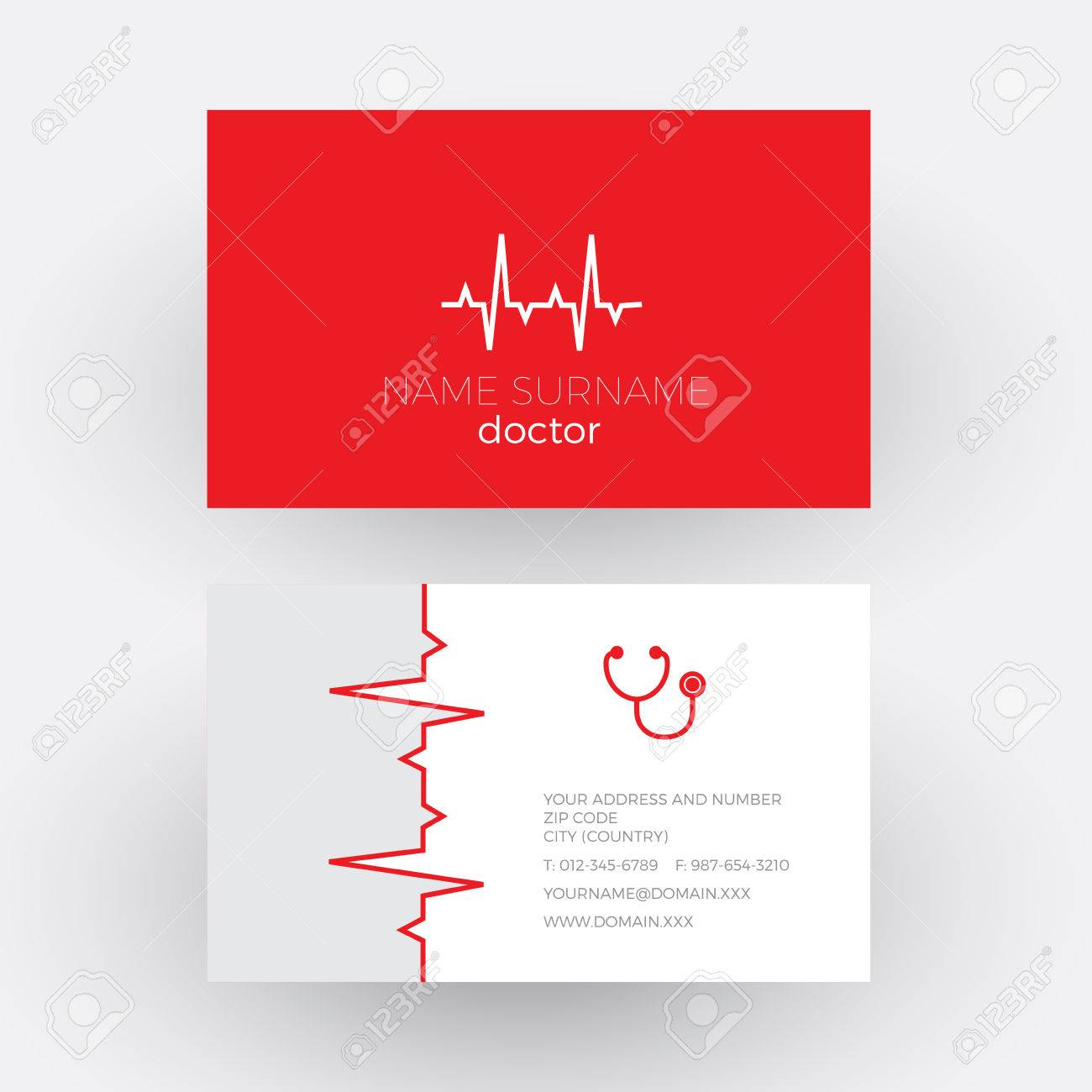 Abstract electrocardiogram strip cardiologist doctor business abstract electrocardiogram strip cardiologist doctor business card stock vector 64057982 magicingreecefo Images