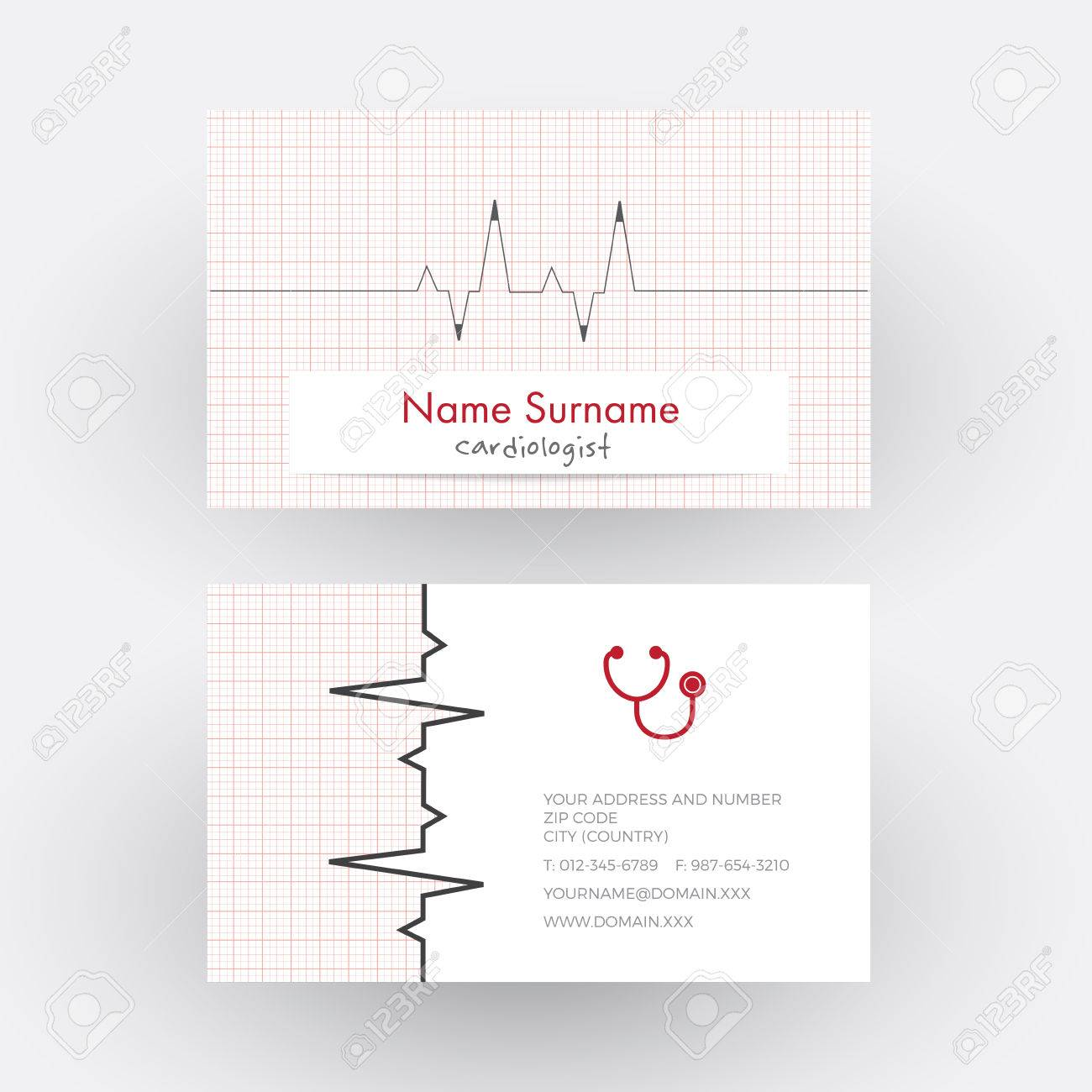 Abstract Electrocardiogram Strip. Cardiologist Doctor Business ...