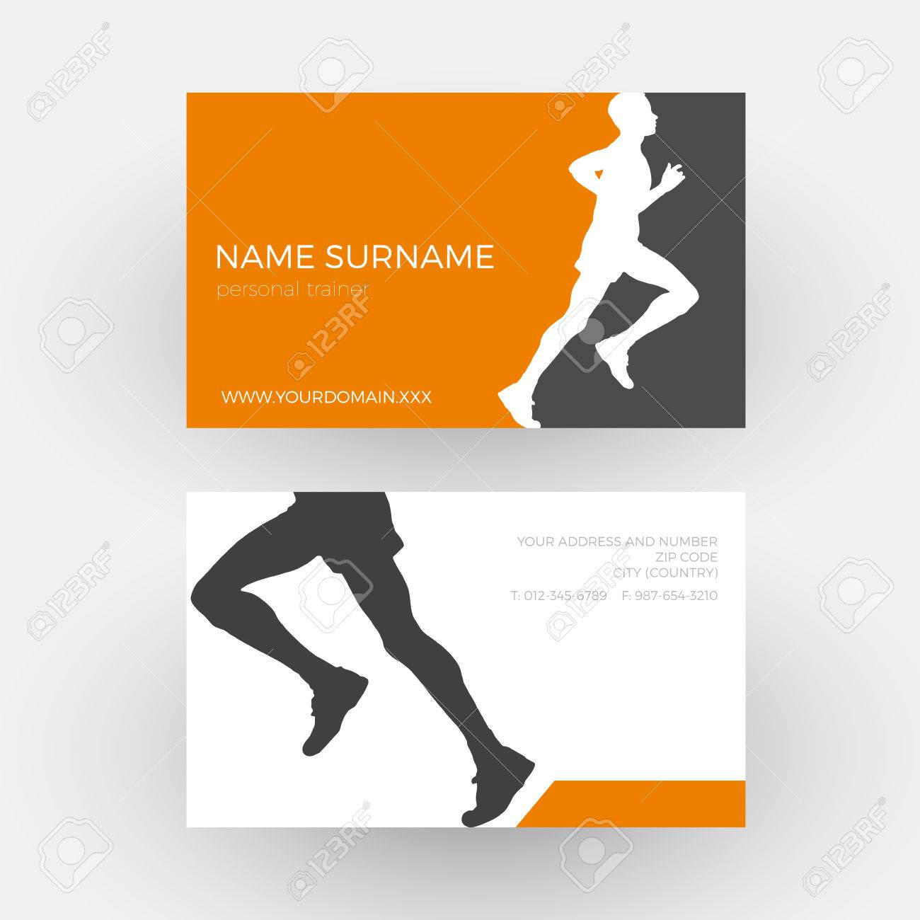 Abstract Runner And Personal Trainer. Business Card Royalty Free ...
