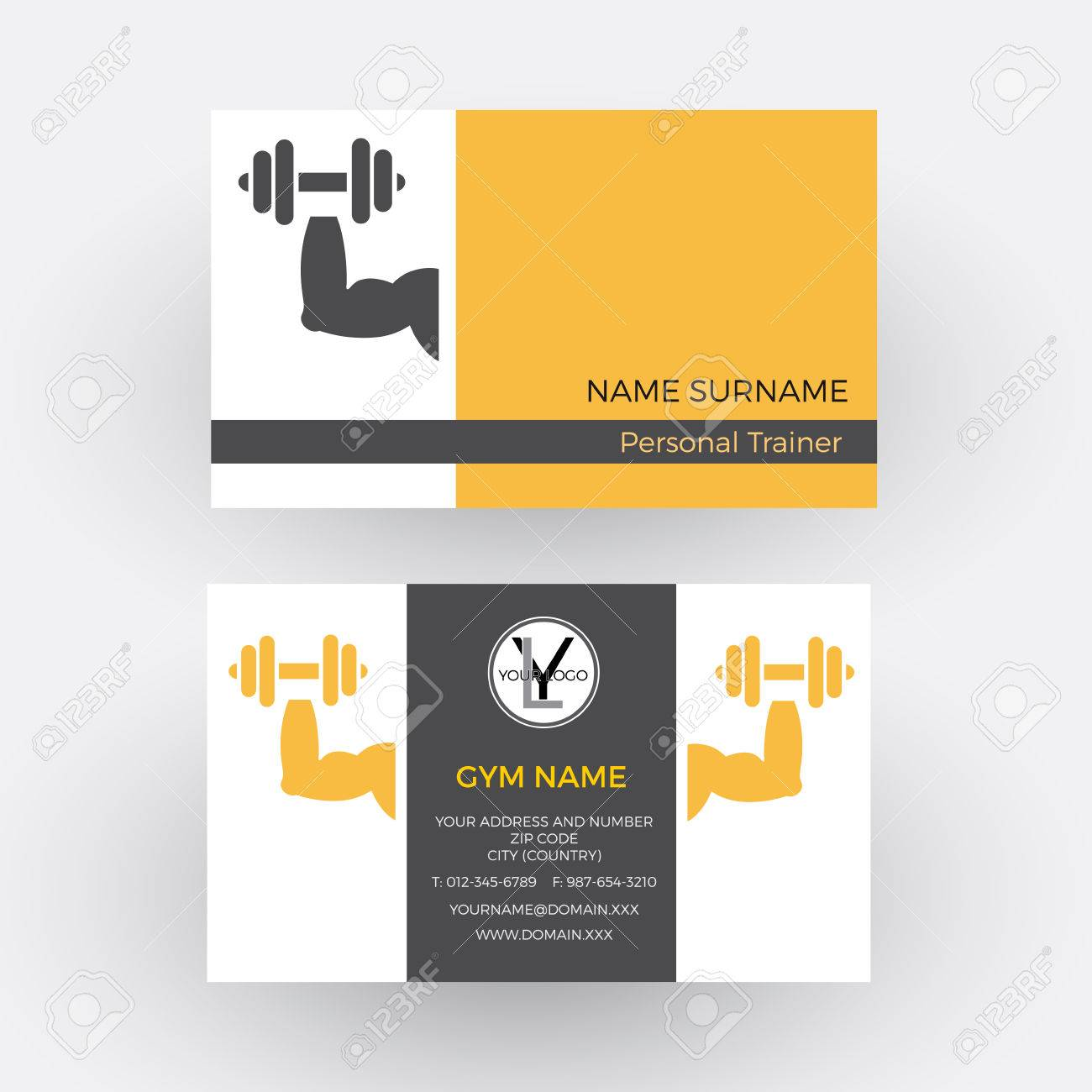 Abstract Sign Personal Trainer. Business Card Royalty Free ...