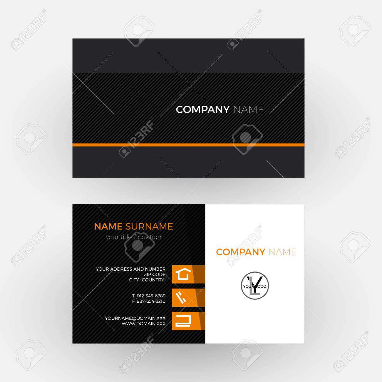Vector Elegant And Professional Business Card Orange Black