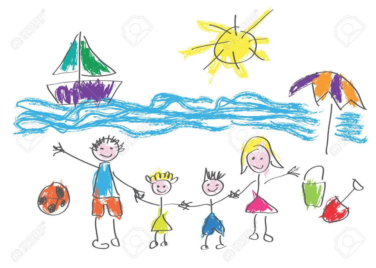Vector Dessin Fait Par Un Enfant Famille Heureuse En Vacances à La Plage