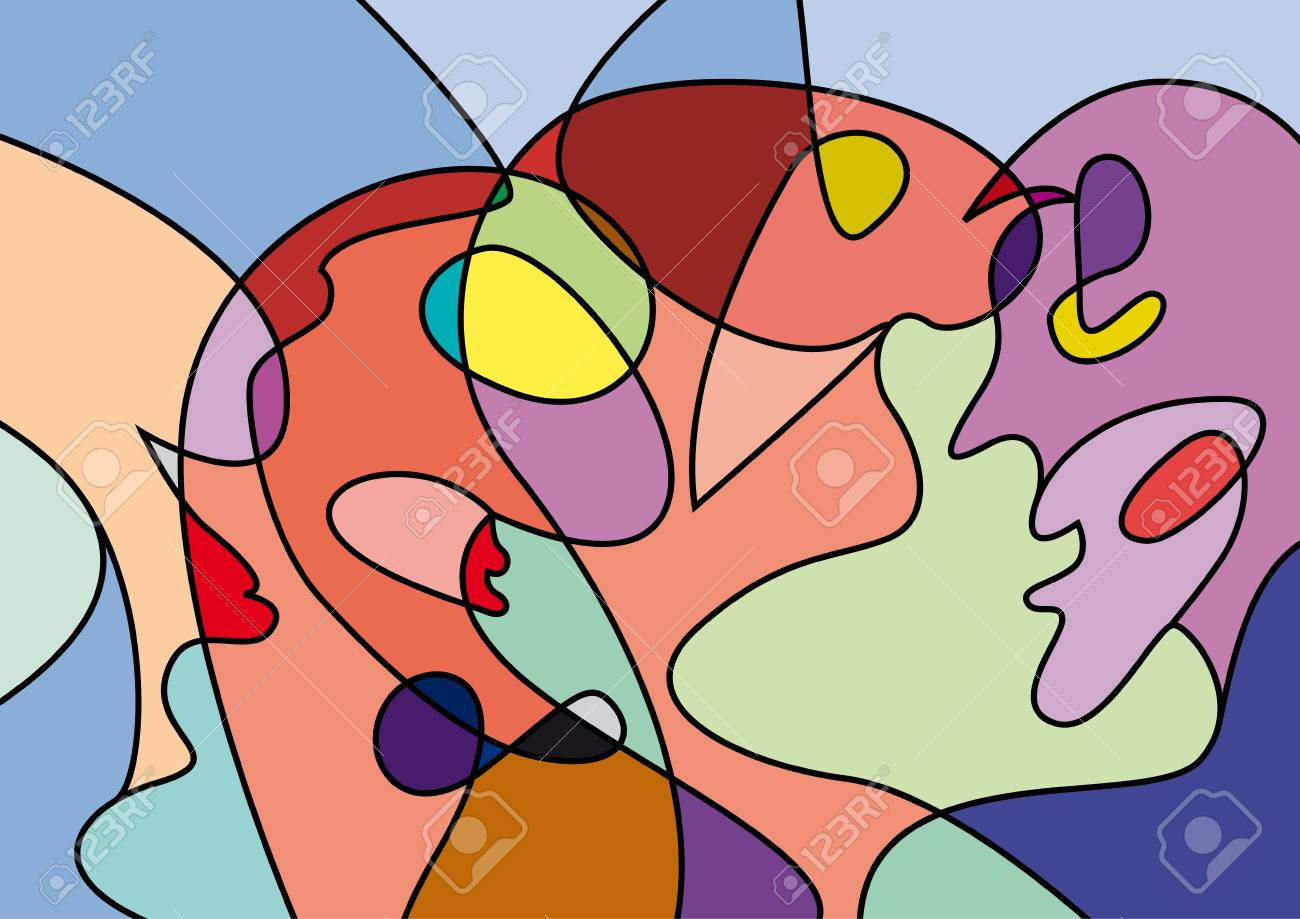 abstract people in confusion, colorful vector background - 64812860