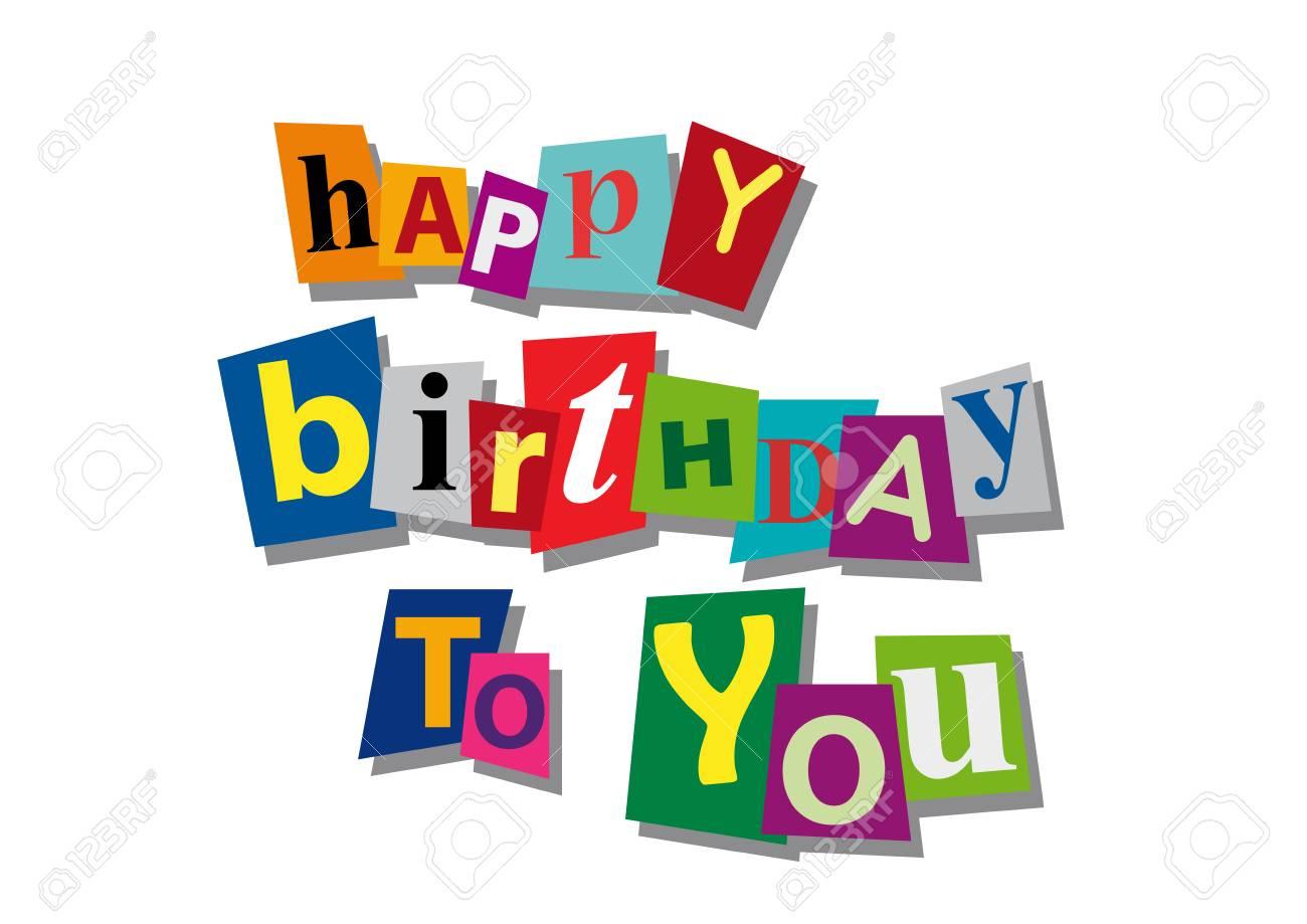 Feliz Cumpleaños Palabra Y Texto Cortados De Papel Tarjeta De Invitación