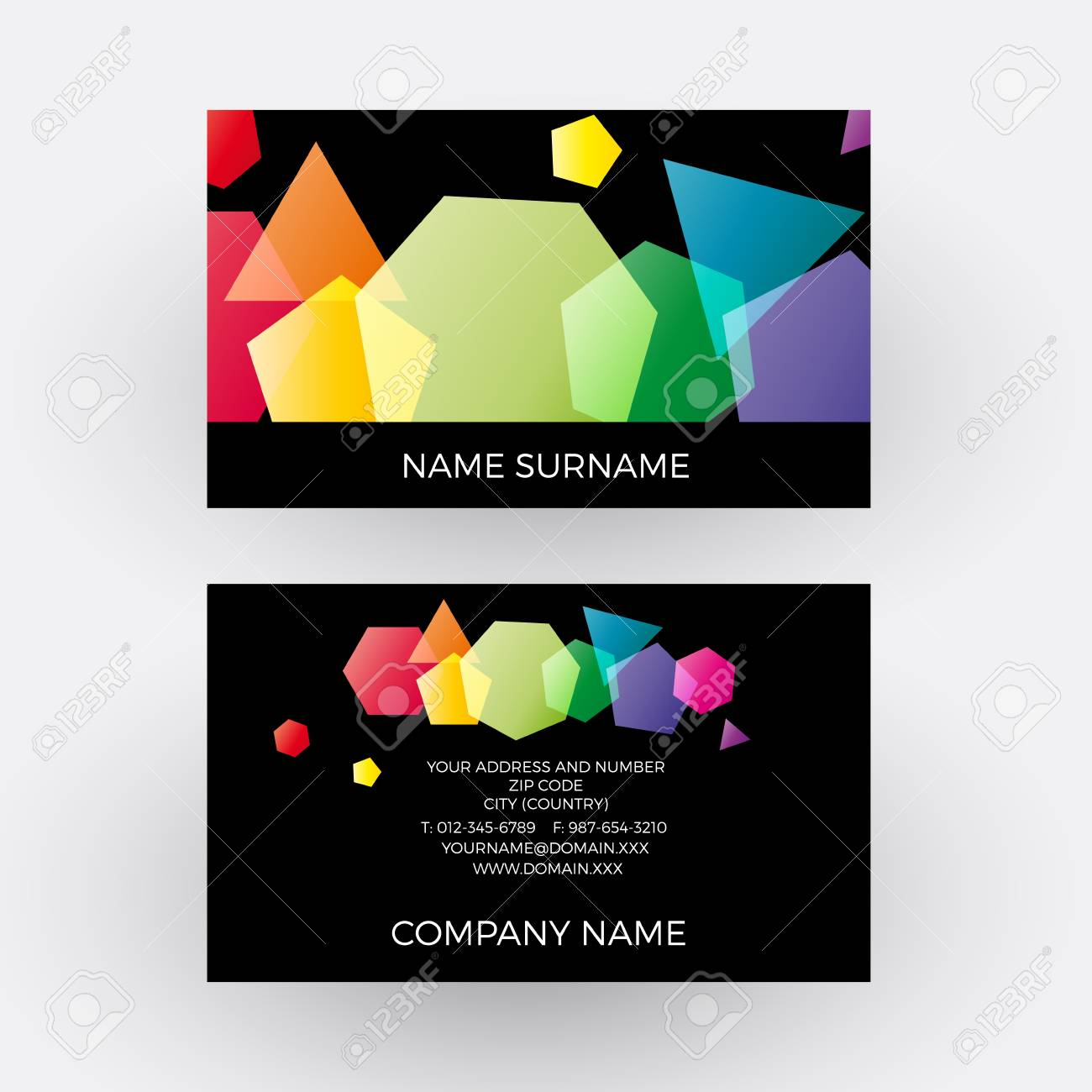 Vector Abstract Geometric Rainbow Polygons On Black Background