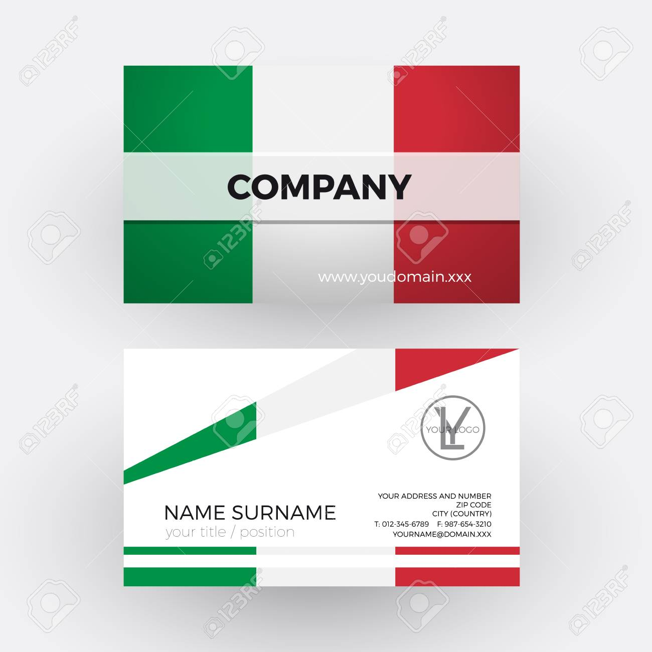 Vector Abstract Italian Flag. Professional Business Card For ...