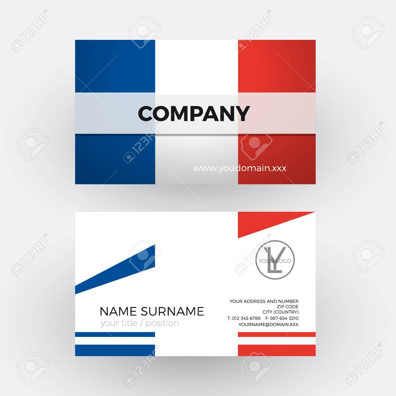 Vector Abstract French Flag. Professional Business Card For France ...