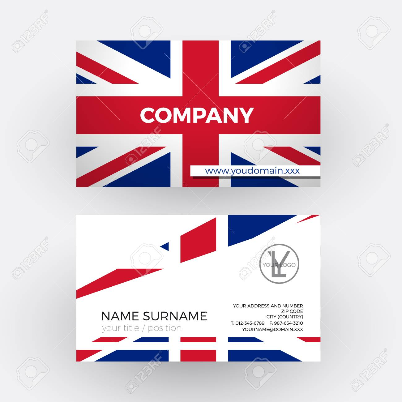 Vector Abstract British Flag. Professional Business Card For ...