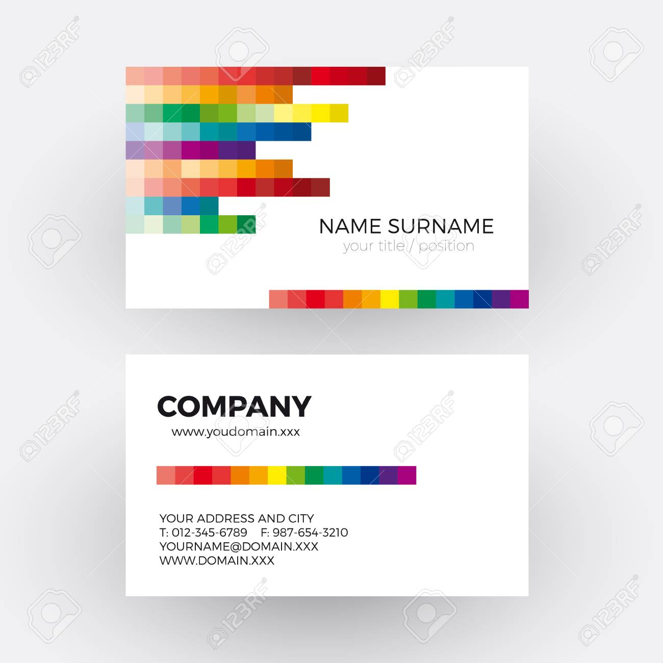 Vector Abstract Digital Concept, Rainbow Pixel. Business Card ...