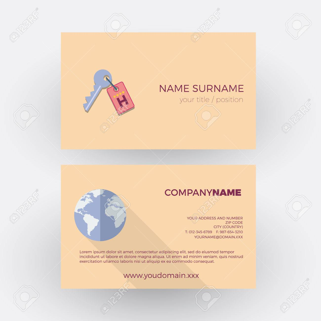 Key Of Hotel ,travel Agency. Vector Professional Business Card ...