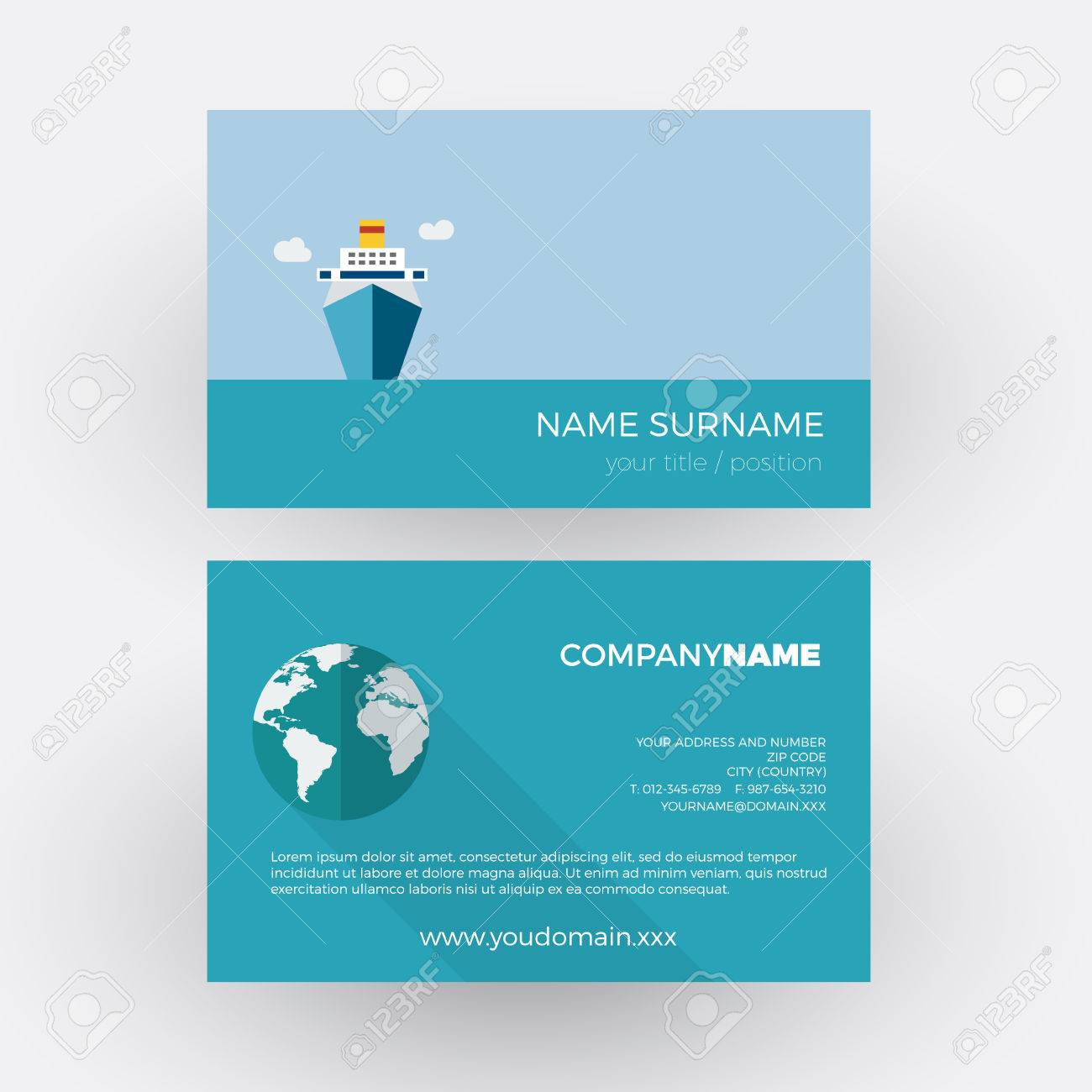 Cruise Ship, Travel Agency. Vector Professional Business Card ...