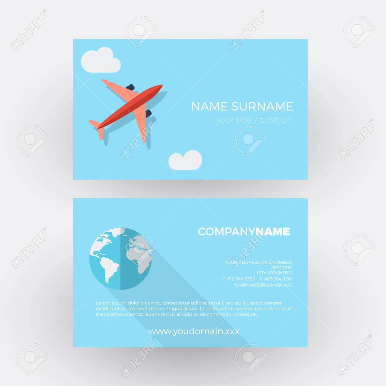 Airplane In The Sky,travel Agency. Vector Professional Business ...