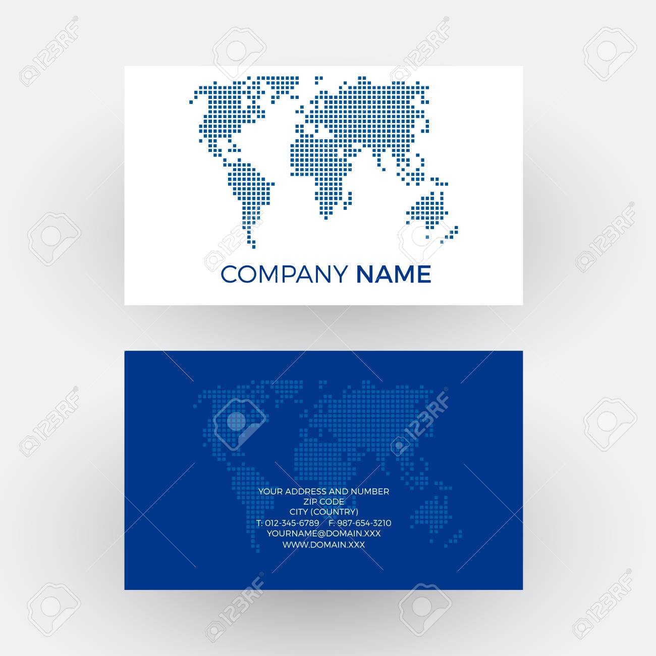 Blue World With Dots, Global Business Concept. Vector Professional ...