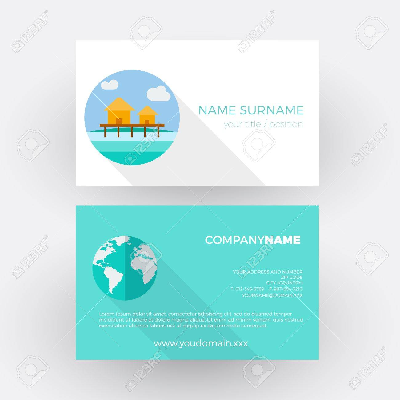 Resort On Reef ,travel Agency. Vector Professional Business Card ...