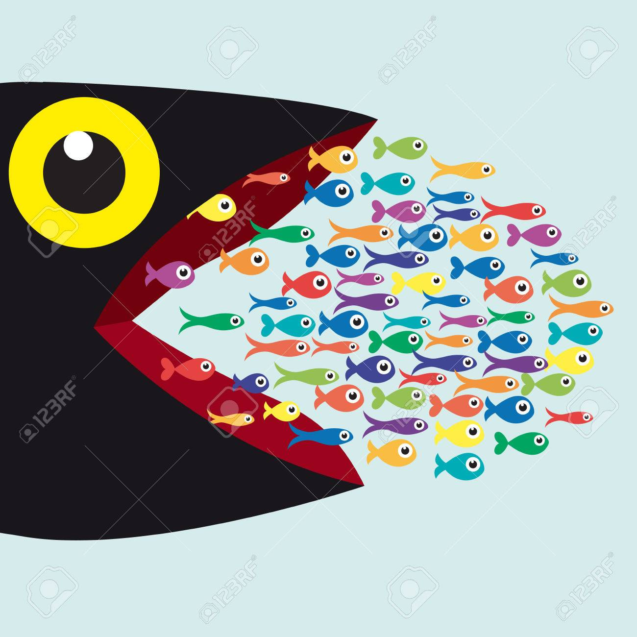 Big Fish Eat Small Fish Metaphor Of The Fittest Which Destroys