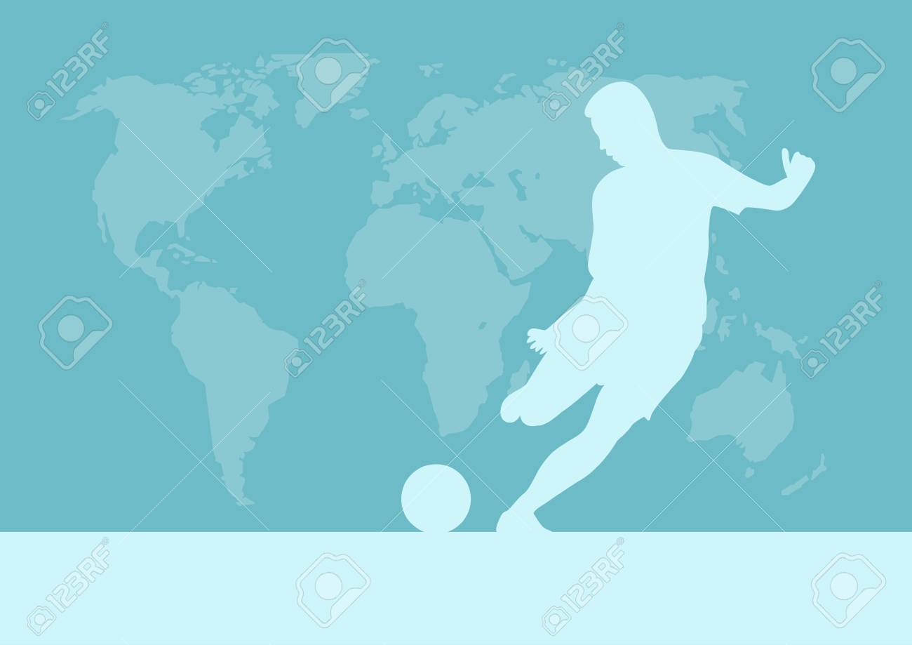 Football Competition Tournament World Map Background Vector - World map silhouette poster