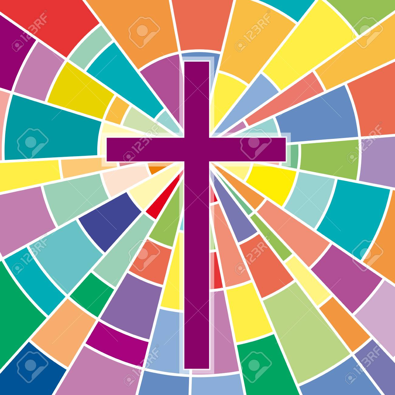 Abstract crucifix, rood on colored glass - 84363209