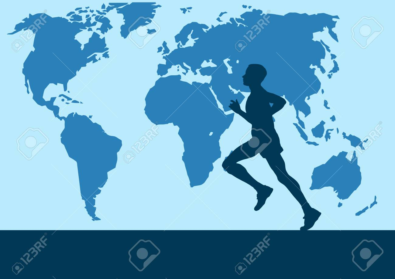 Runner in the world map vector poster background royalty free runner in the world map vector poster background stock vector 88119889 gumiabroncs Choice Image