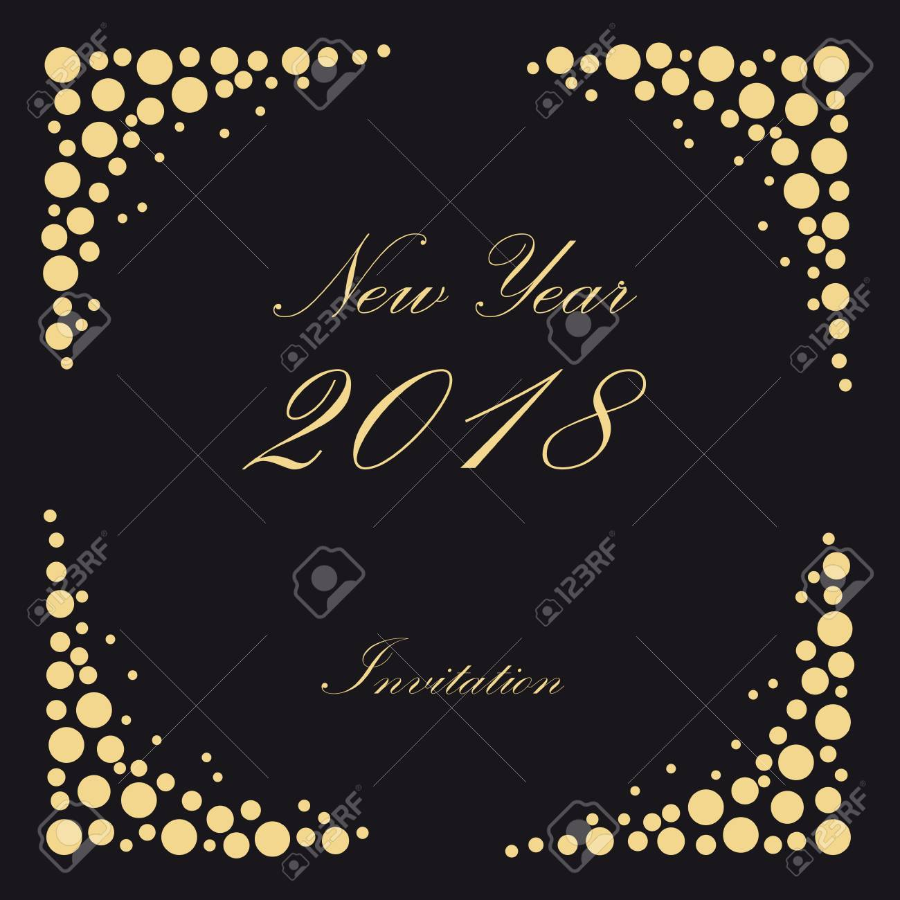 2018 new year party invitation vintage poster vector black background with bubbles champagne