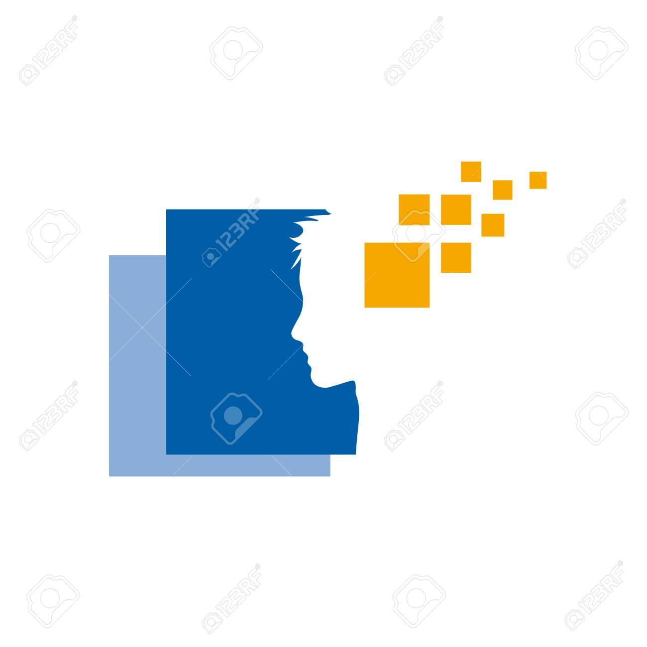 Vector sign digital generation, human head and pixel