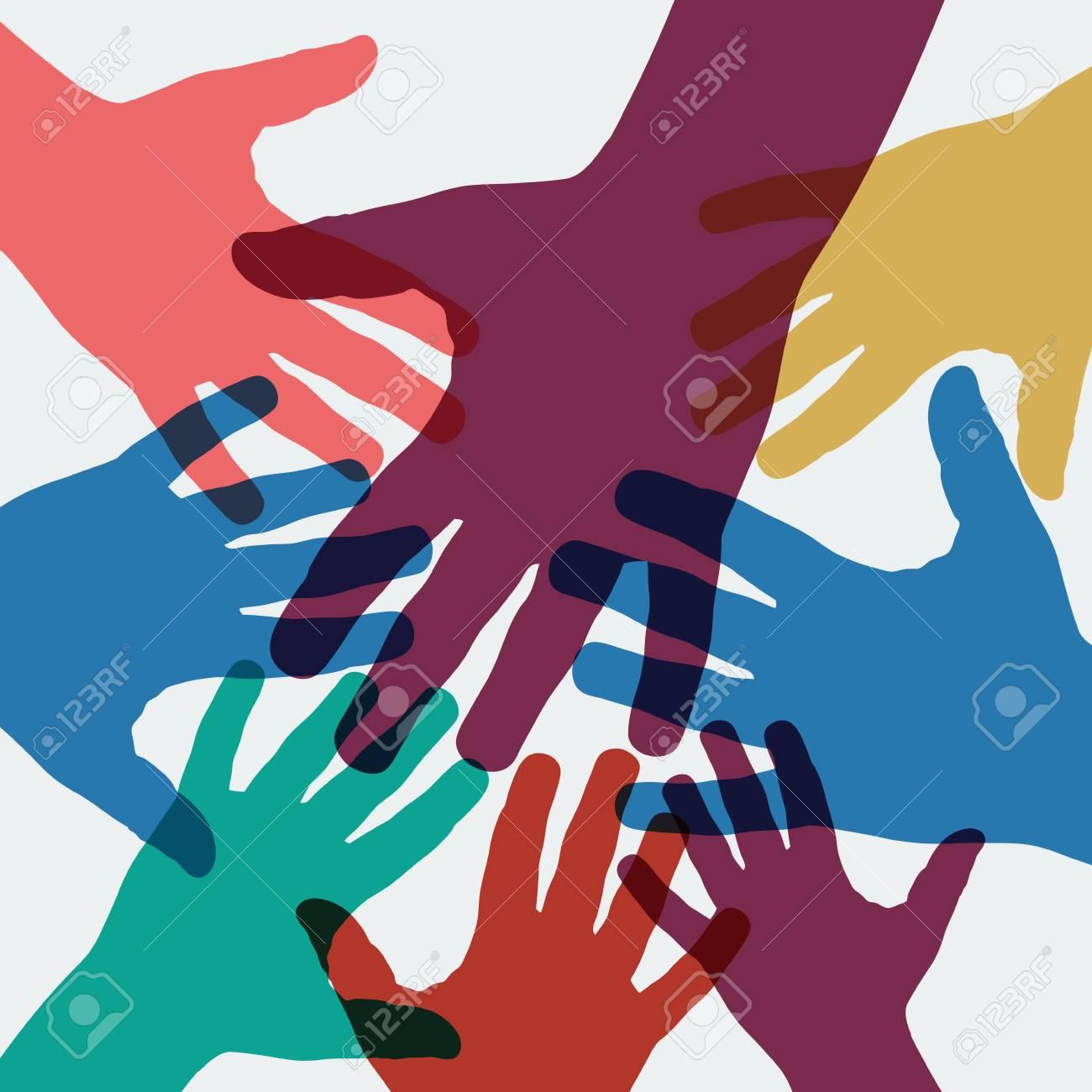 Vector background teamwork, hands crossed - 124733646