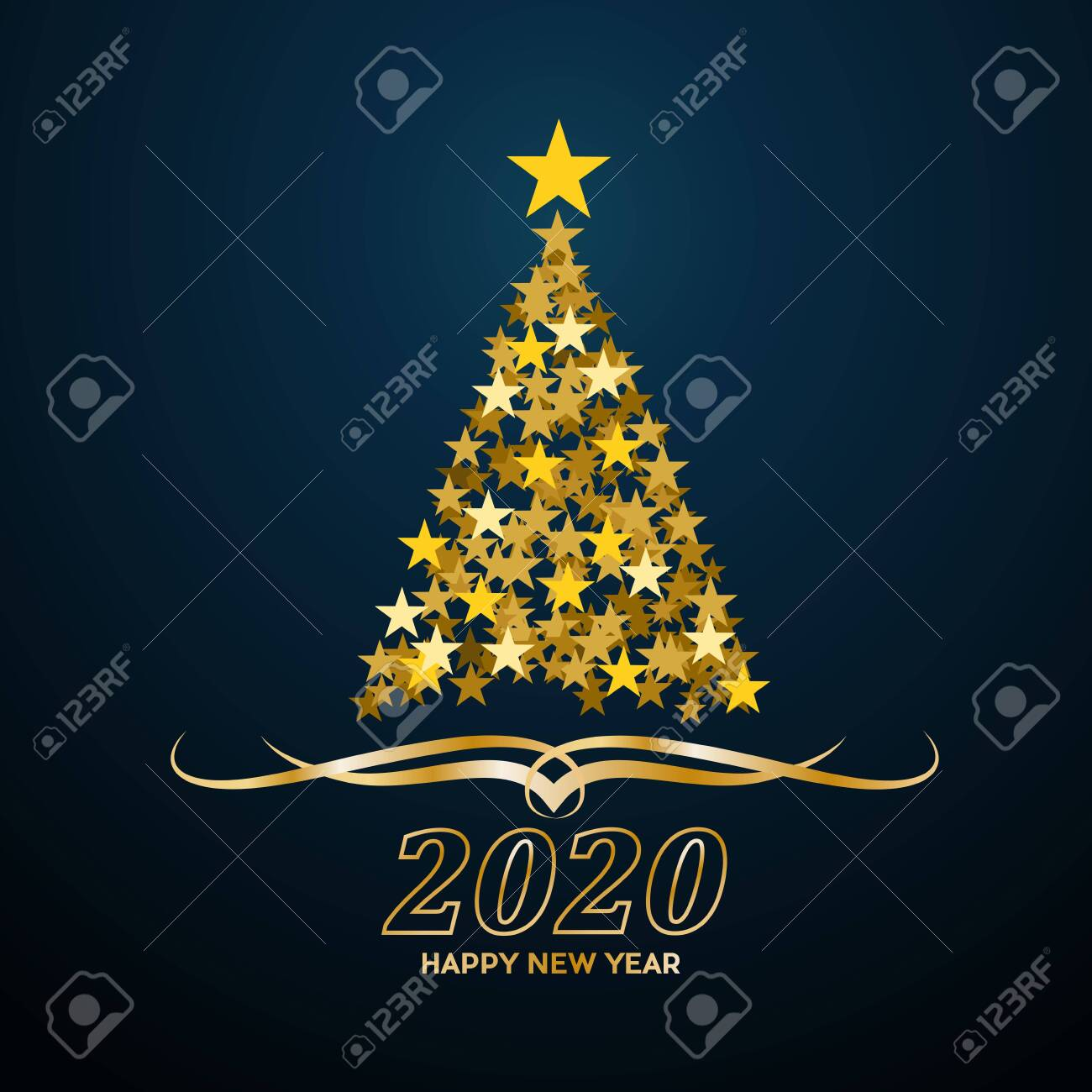 Christmas 2020.Vector Abstract Cover Golden Christmas Tree With Text 2020 Happy