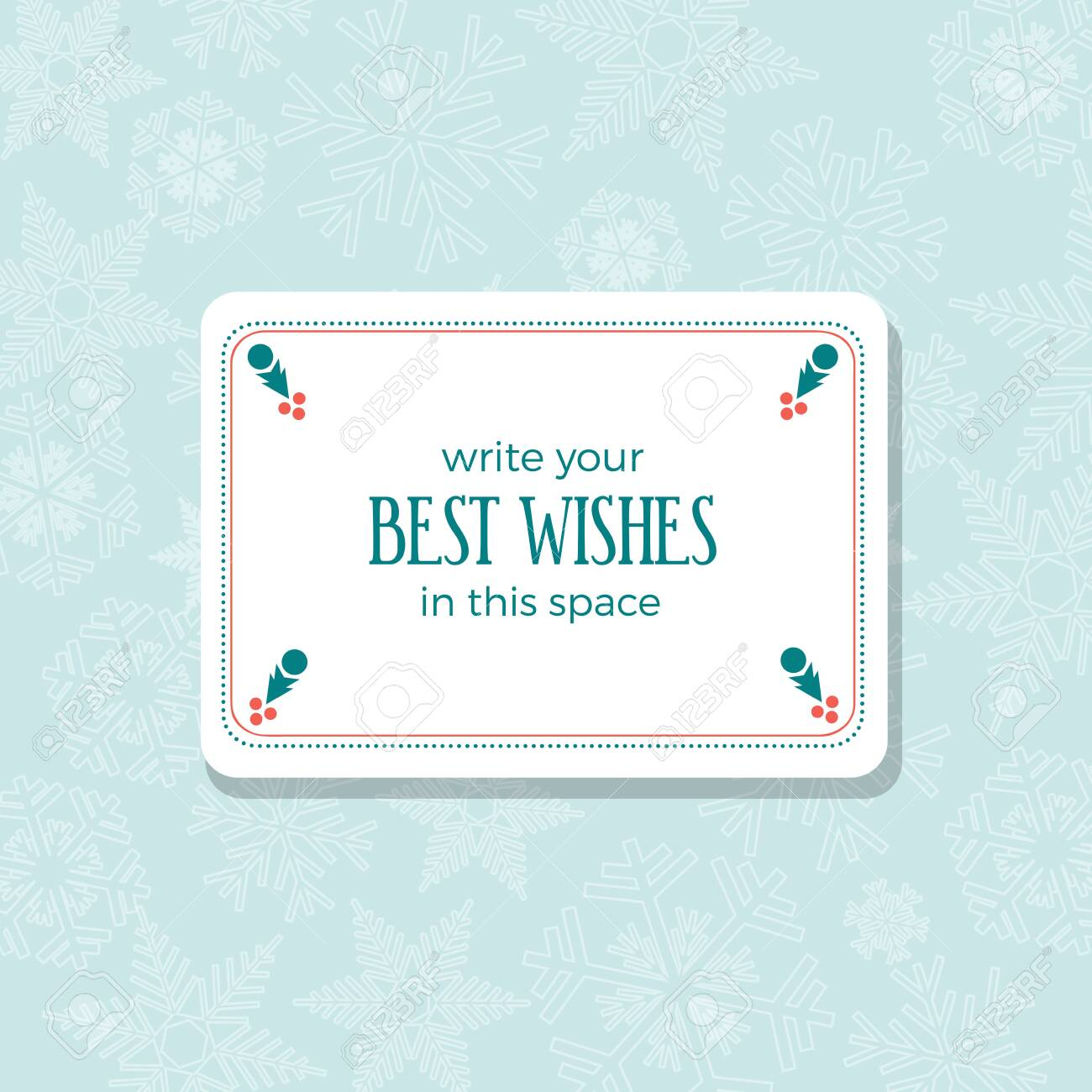 Insert best wishes in empty frame. Merry Christmas and Happy New Year. Greeting, Invitation or Menu cover. Vector background - 130352784