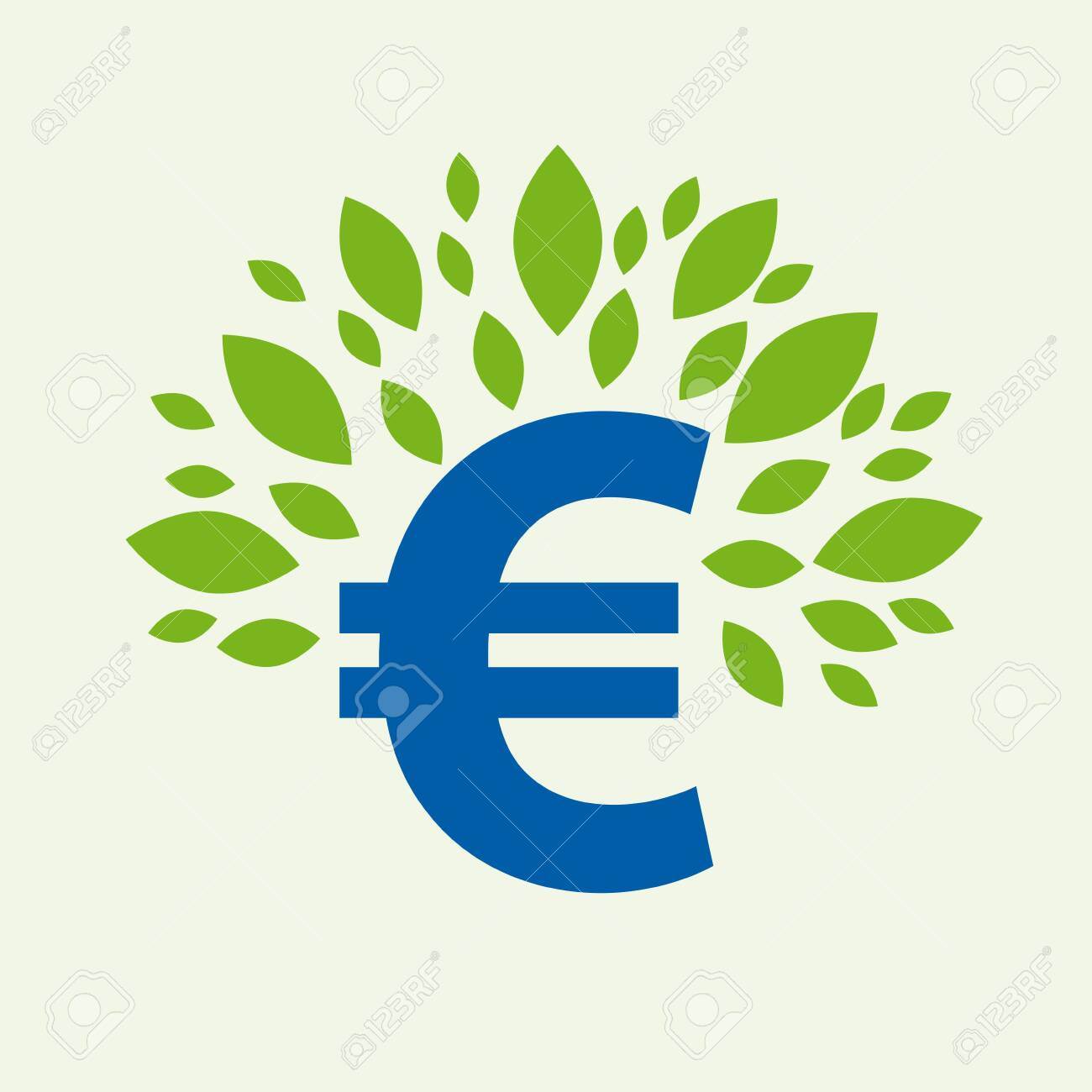Green deal. Conceptual illustration with leaves and euro sign - 139631915