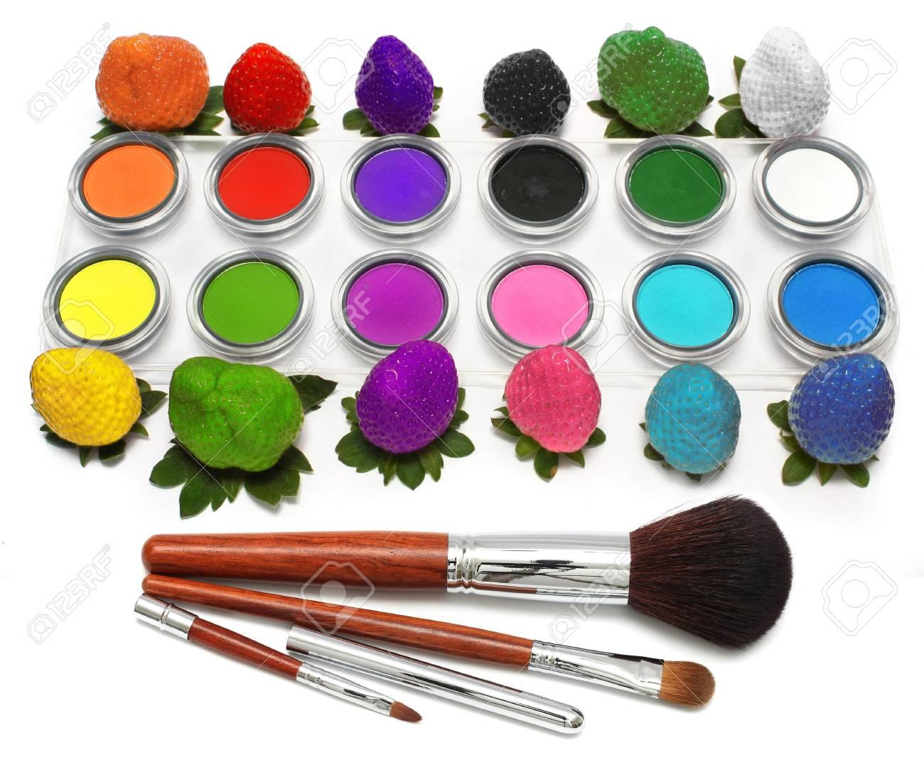 Colorful Strawberry, eyeshadow and few blusher on white background. - 3024638